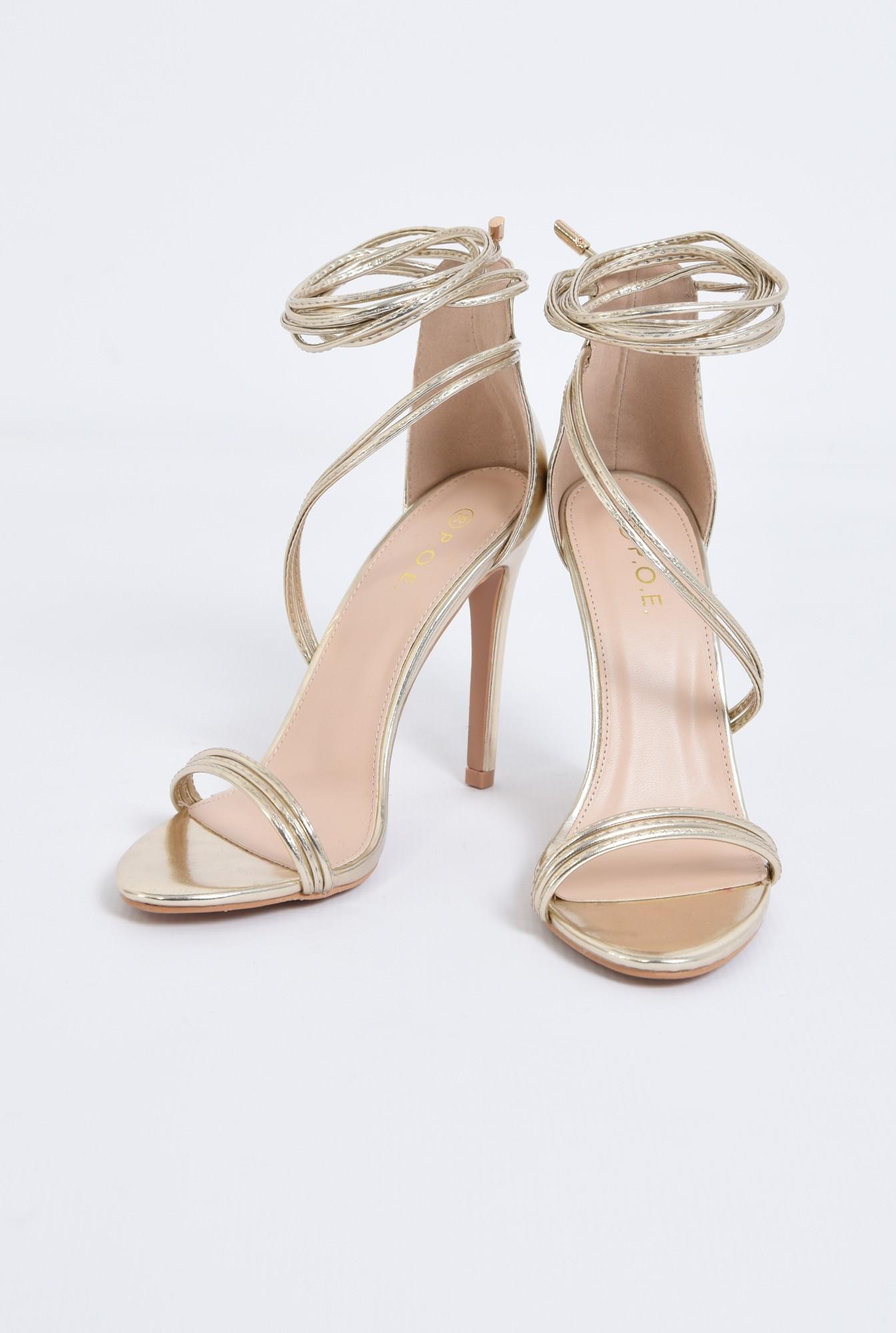 3 - sandale de seara, auriu, metalizat, barete
