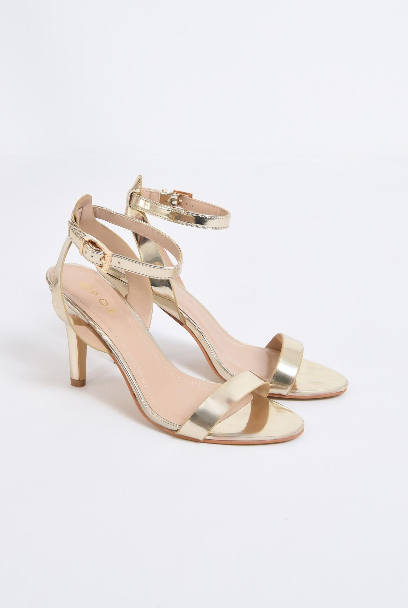 1 - sandale elegante, aurii, cu toc subtire