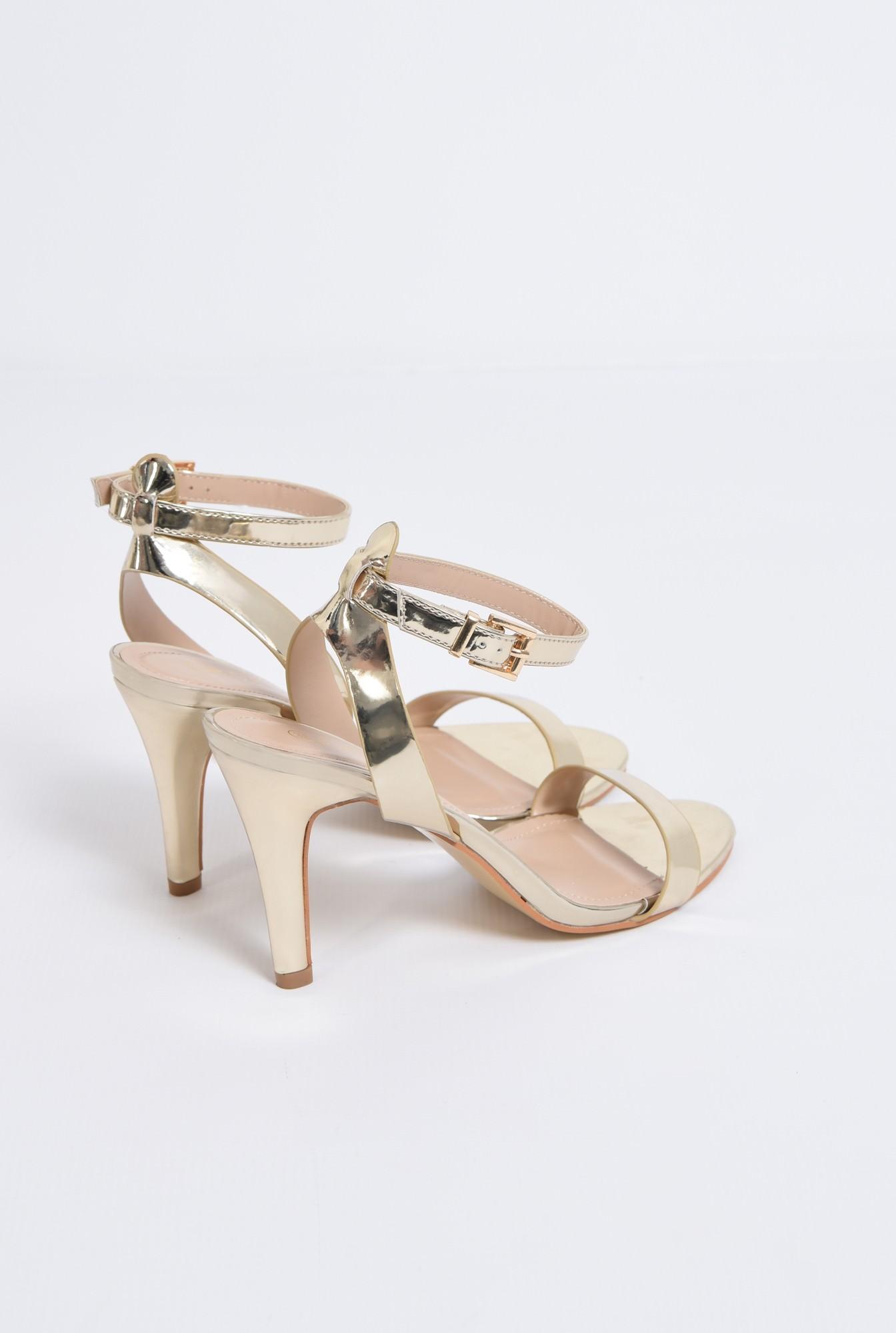 2 - sandale elegante, aurii, cu toc subtire