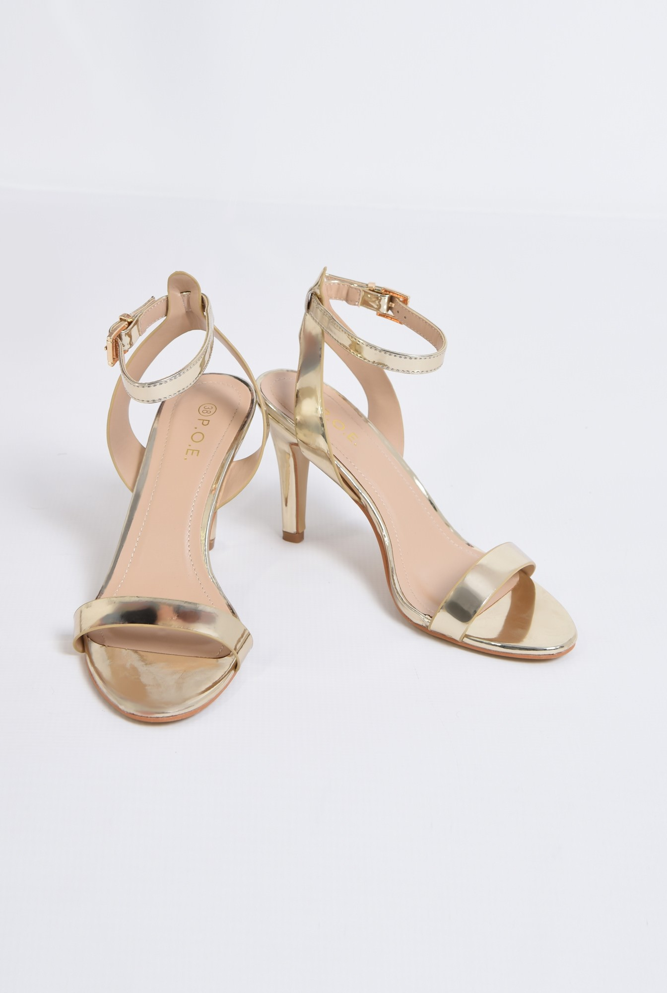 3 - sandale elegante, aurii, cu toc subtire
