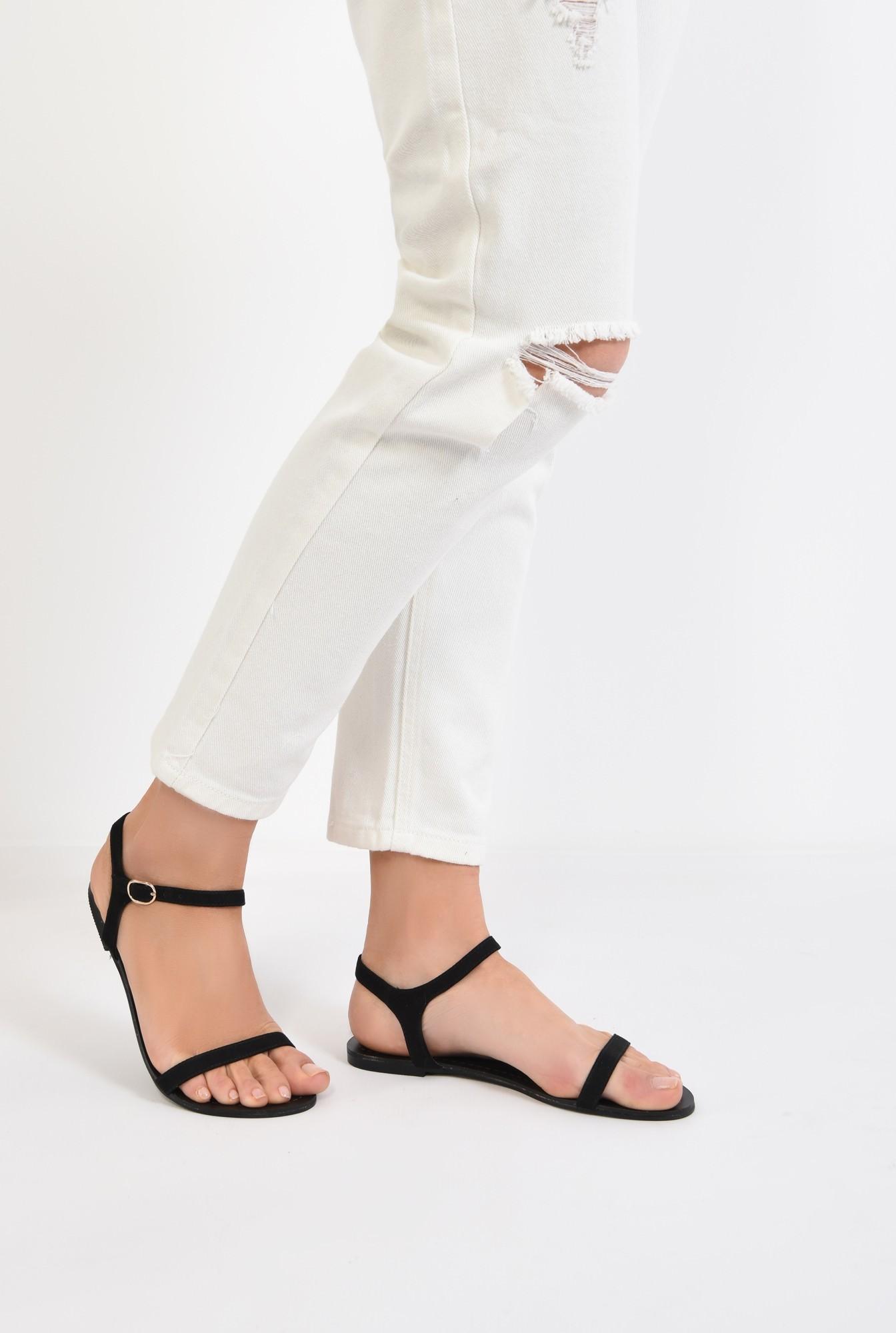 4 - sandale casual, negre, din velur, fara toc