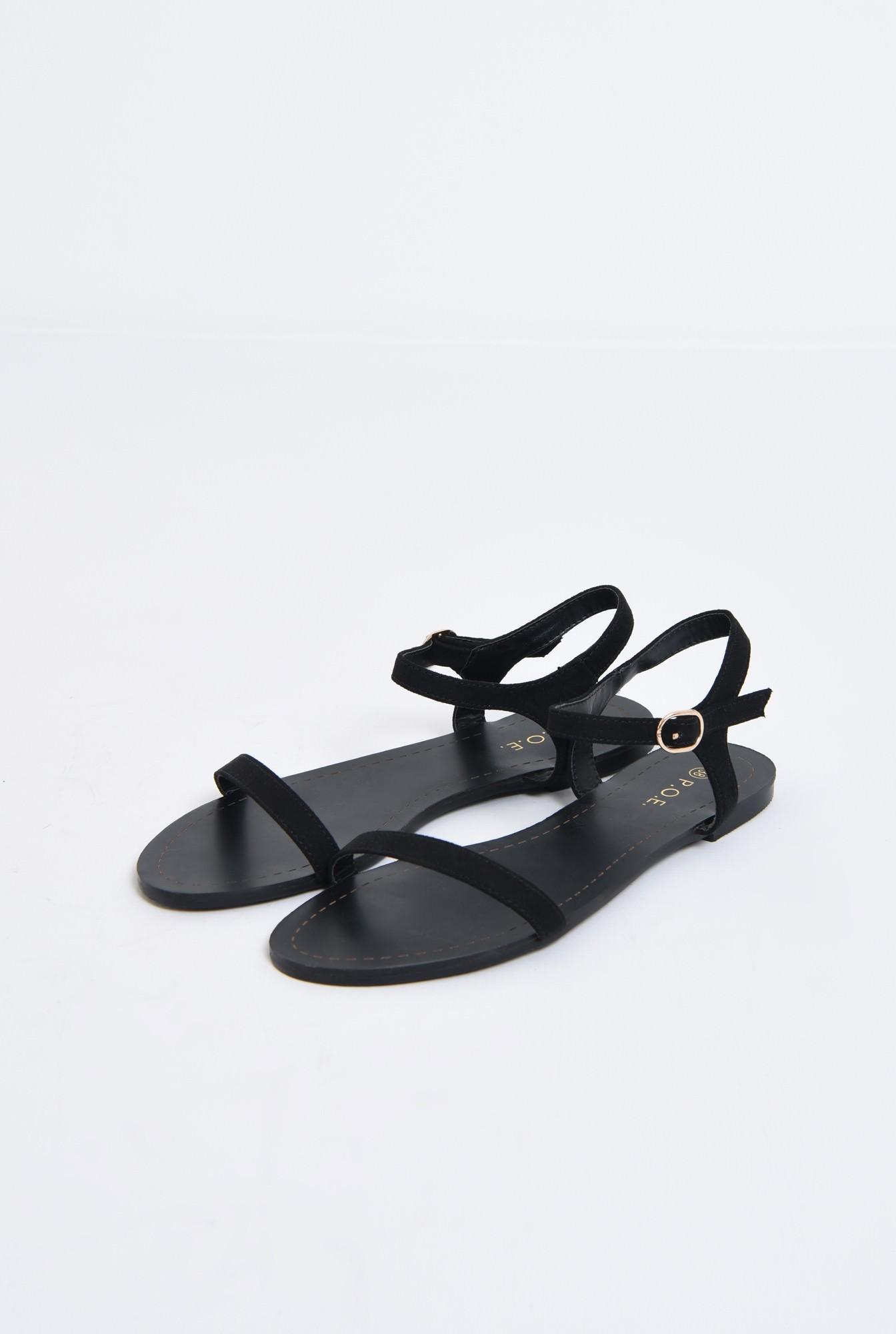 1 - sandale casual, negre, din velur, fara toc