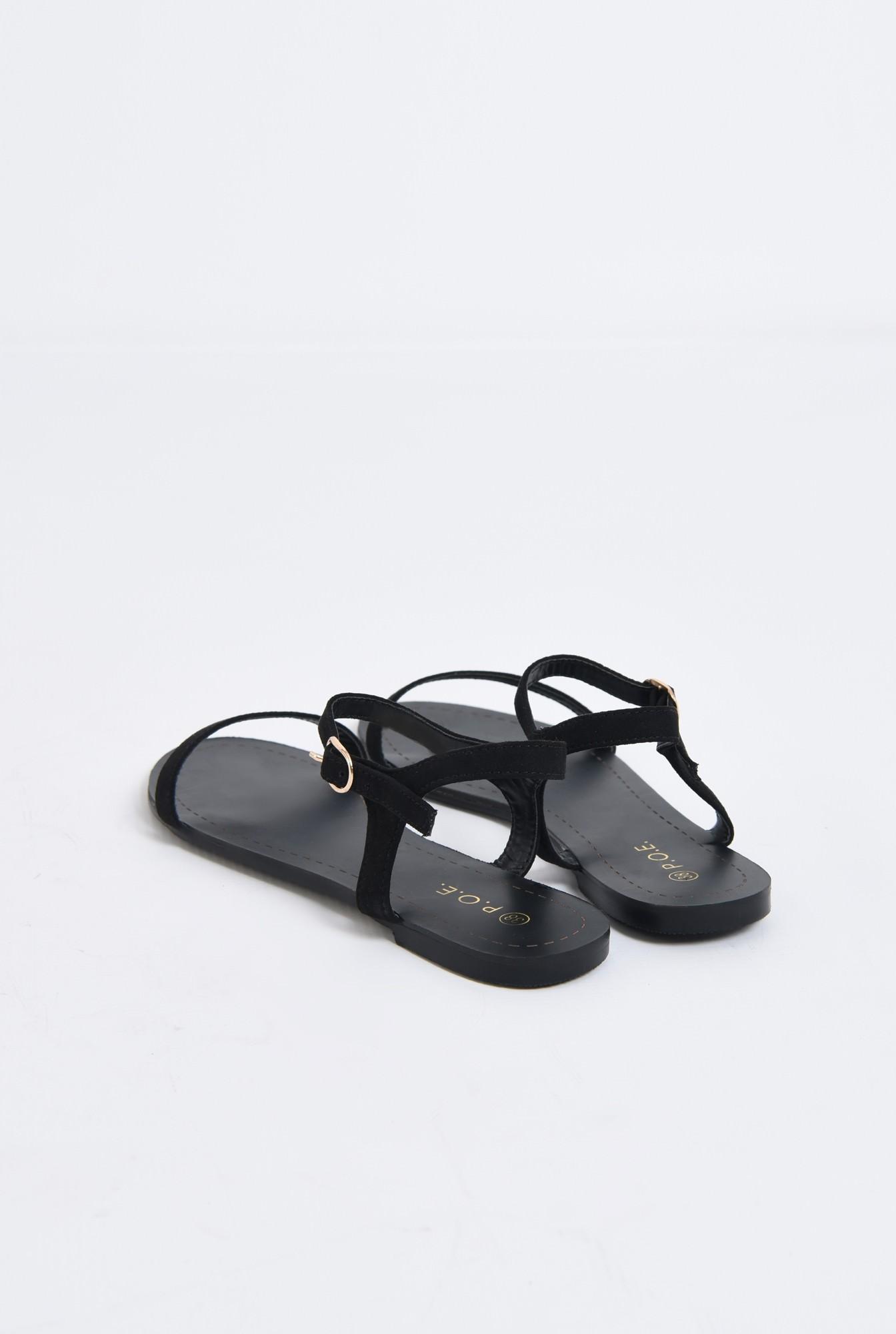 2 - sandale casual, negre, din velur, fara toc