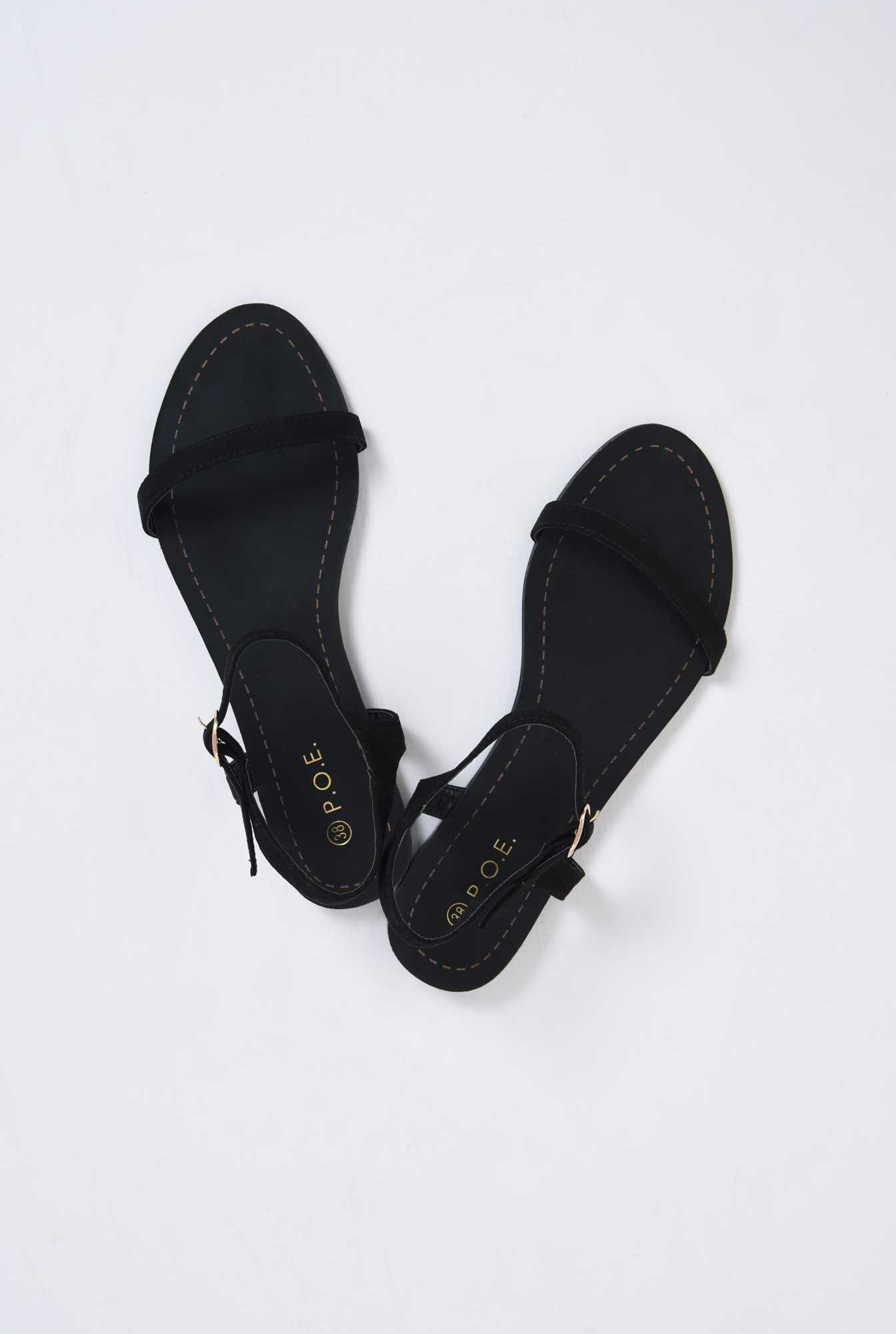 3 - sandale casual, negre, din velur, fara toc