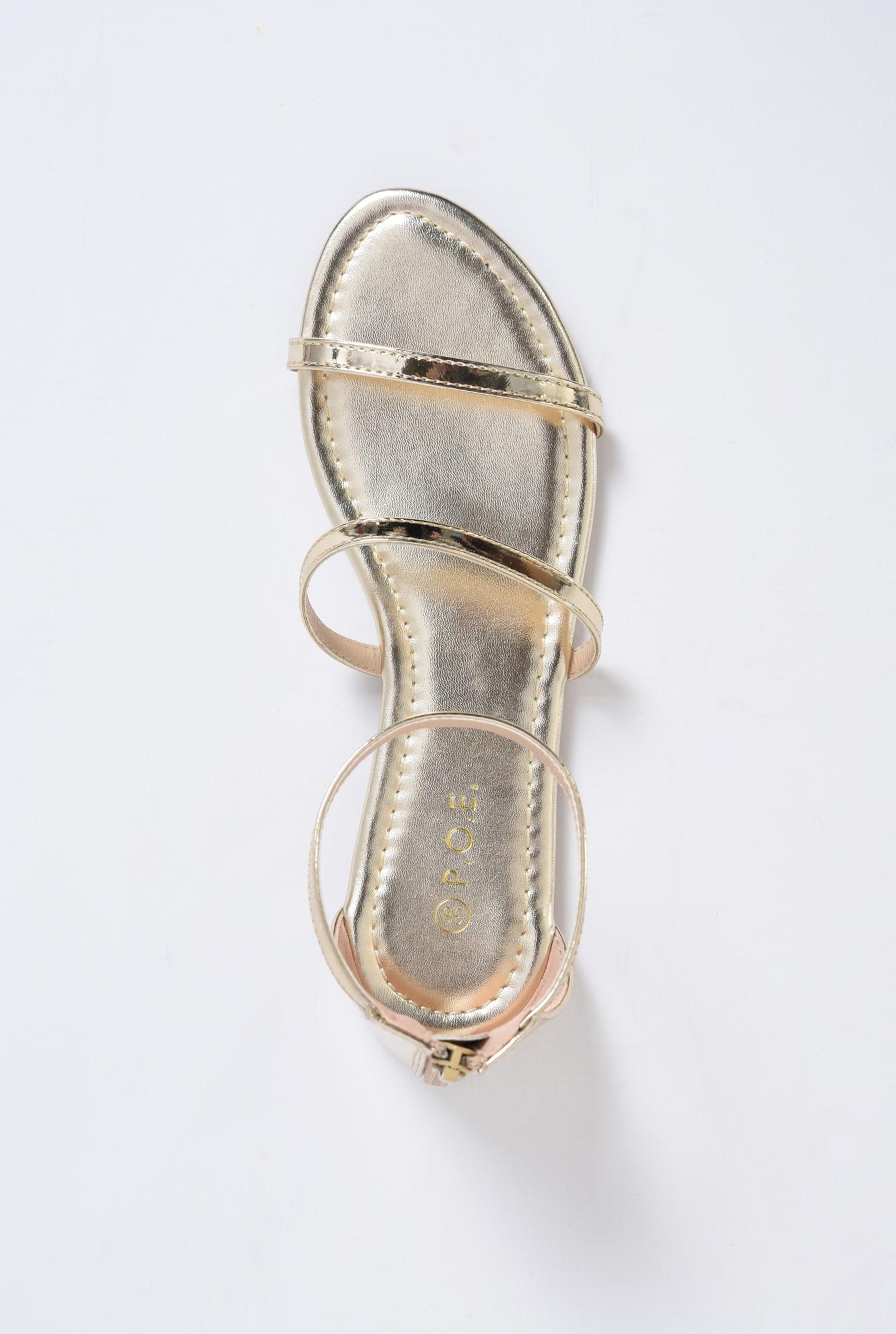 2 - sandale casual, aurii, cu barete subtiri