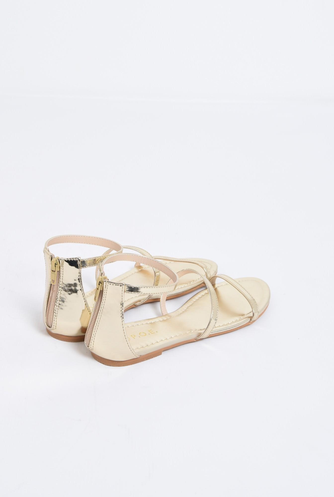 3 - sandale casual, aurii, cu barete subtiri
