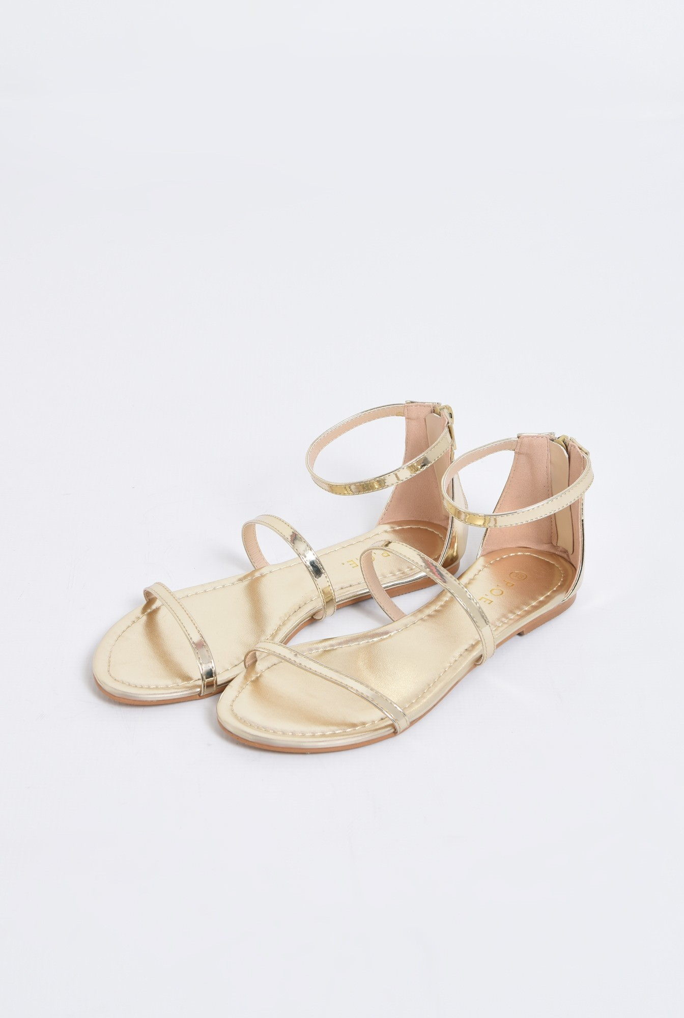1 - sandale casual, aurii, cu barete subtiri
