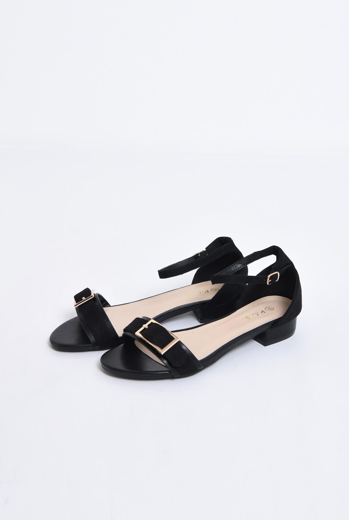 1 - sandale comode, cu talpa joasa, negre, din velur, catarama decorativa aurie