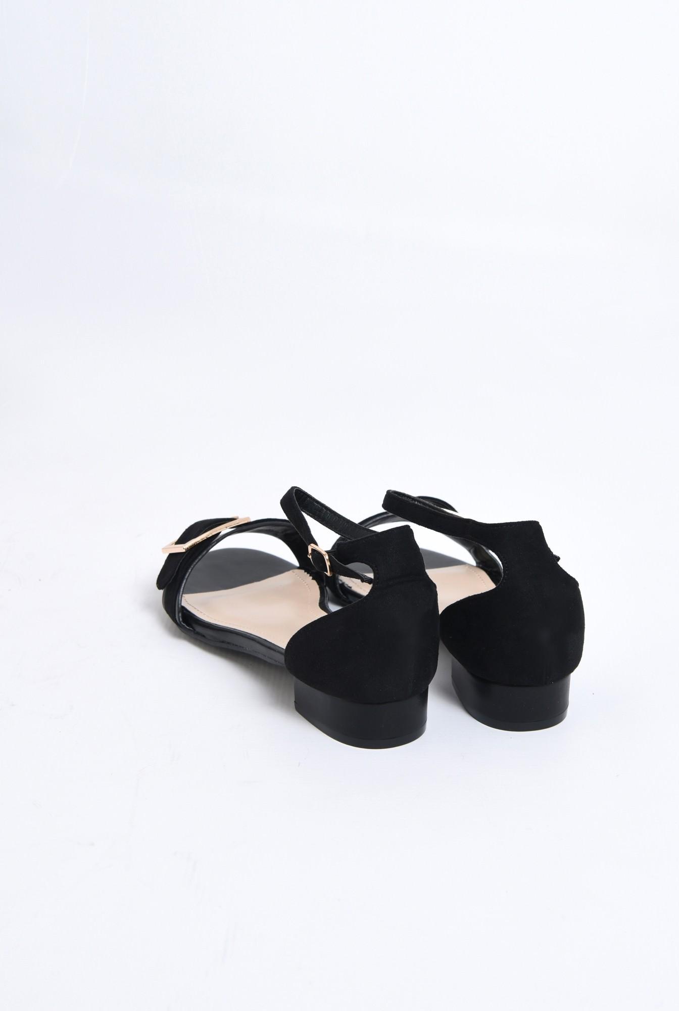 3 - sandale comode, cu talpa joasa, negre, din velur, catarama decorativa aurie