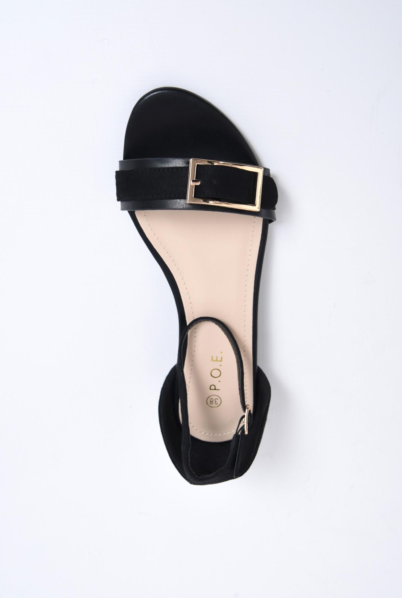 2 - sandale comode, cu talpa joasa, negre, din velur, catarama decorativa aurie