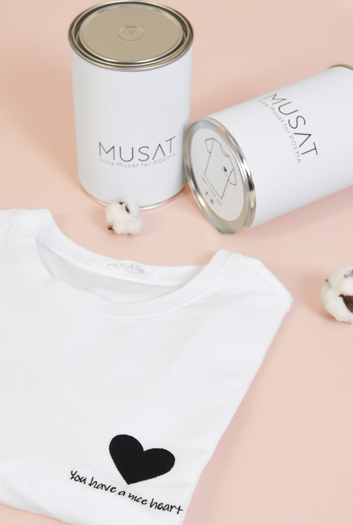1 - tricou cu broderie, inima, bumbac, alb, Poema, maneci scurte