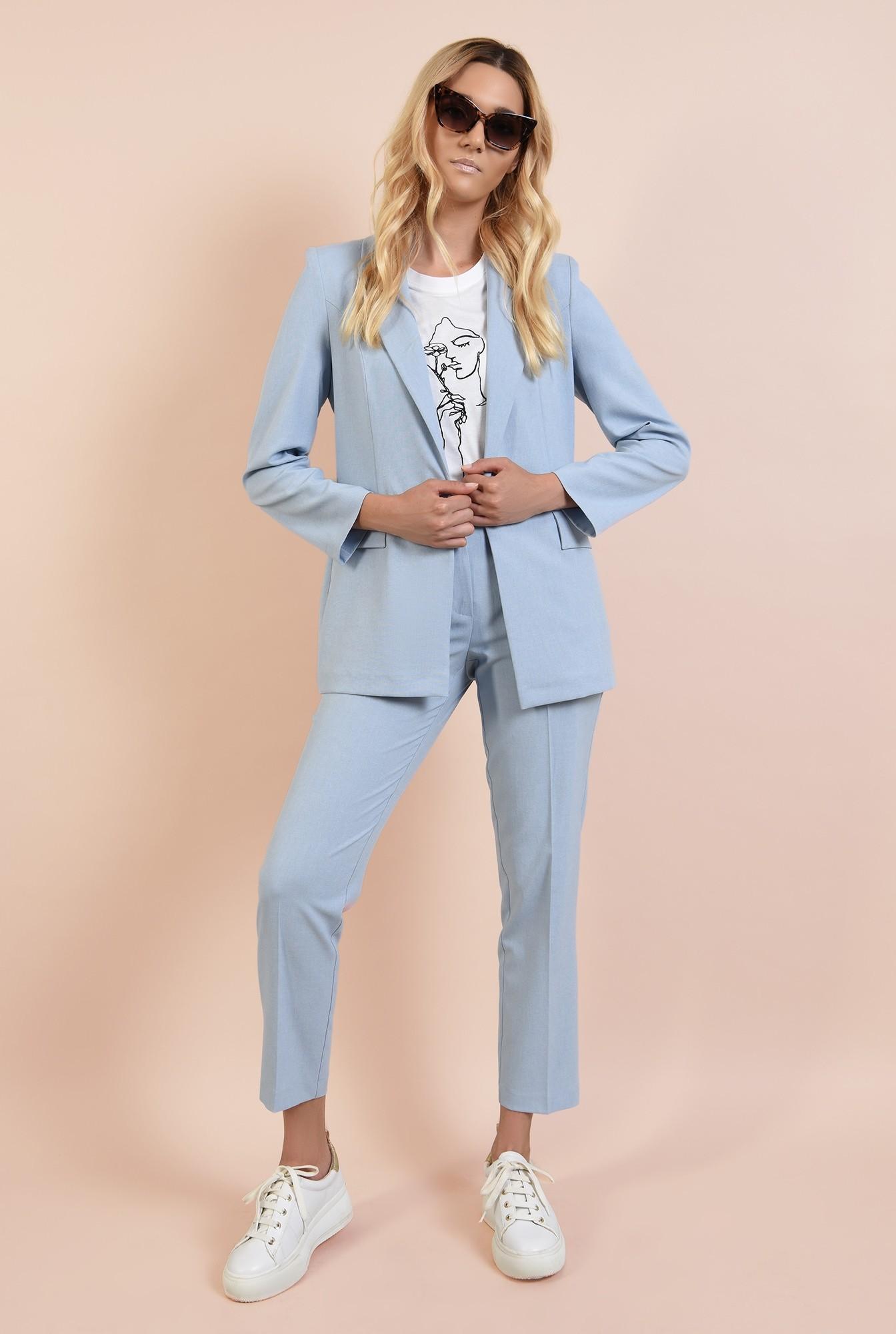 0 - pantaloni tigareta, casual, din in, cu talie medie, cu buzunare