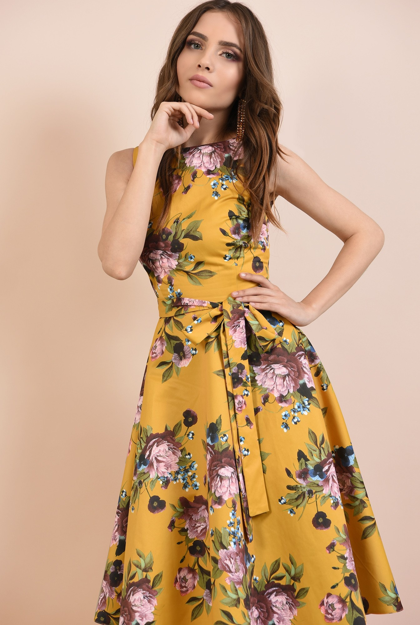 rochie de seara, cu croi evazata, imprimeu floral, cordon cu funda la talie