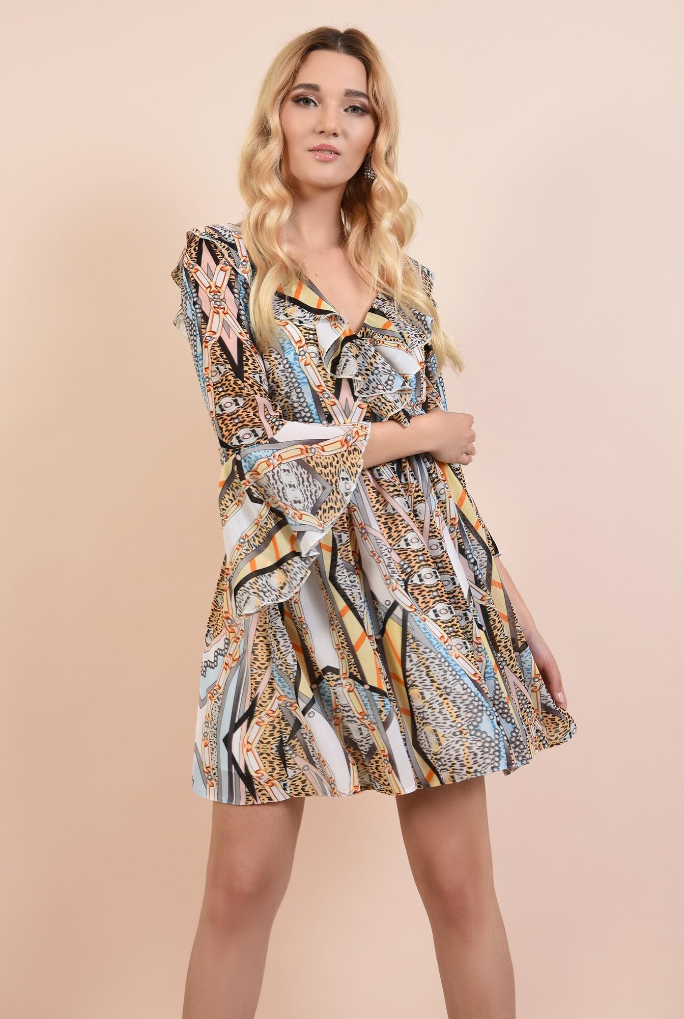 rochie de ocazie, imprimata, anchior cu volane, maneci clopot
