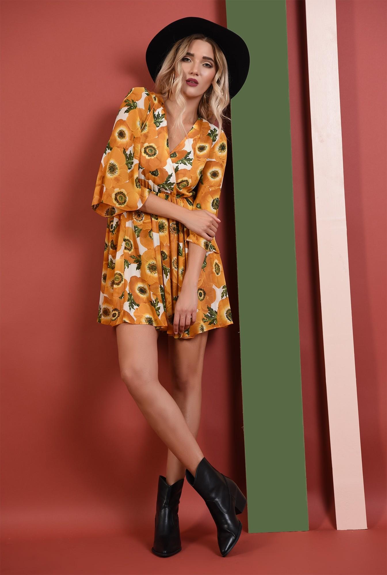 360 - rochie imprimata, casual, clos, talie pe elastic, motive florale