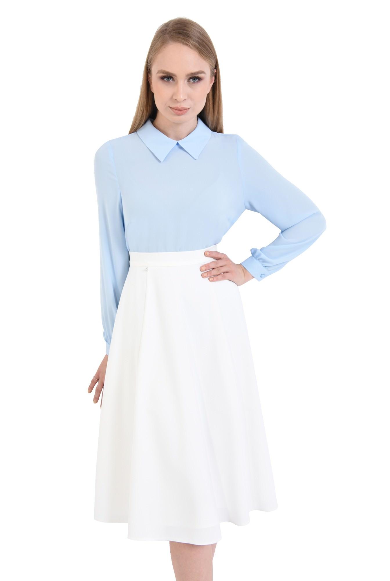 bluza casual, din sifon, bleu