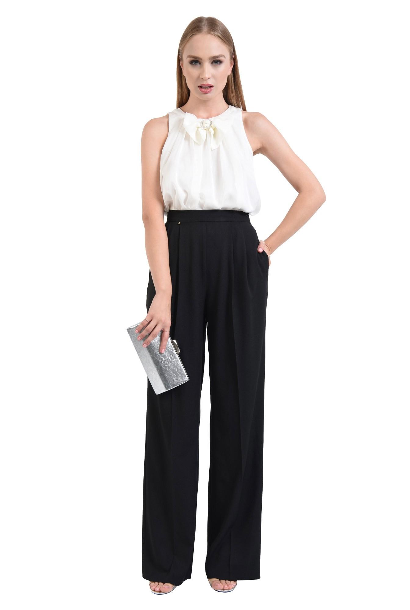 bluza eleganta, din sifon, cu funda, strasuri, alb