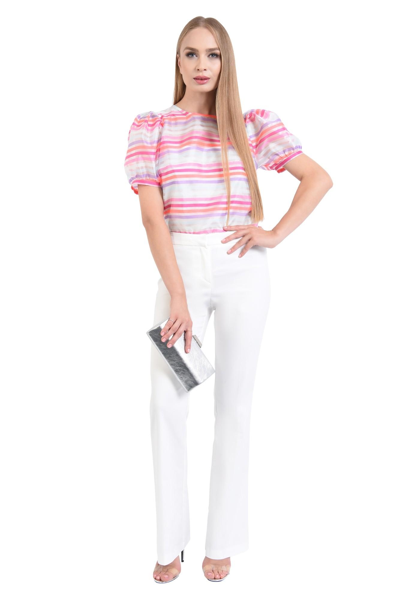 bluza de ocazie, imprimeu dungi, roz, alb, bluze online