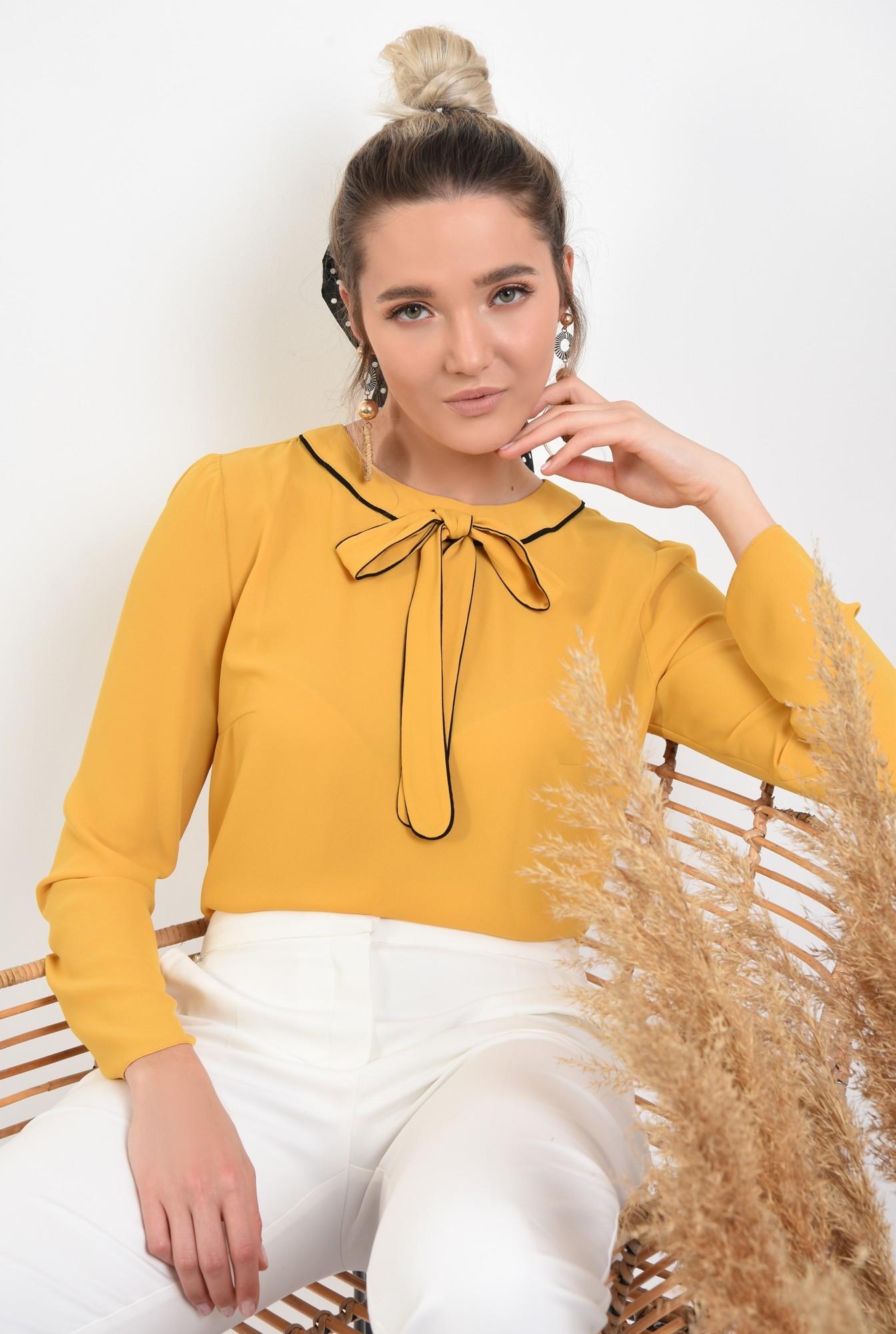 bluza office, maneci lungi, funda cu borduri contrastante, mustar, bluza de primavara
