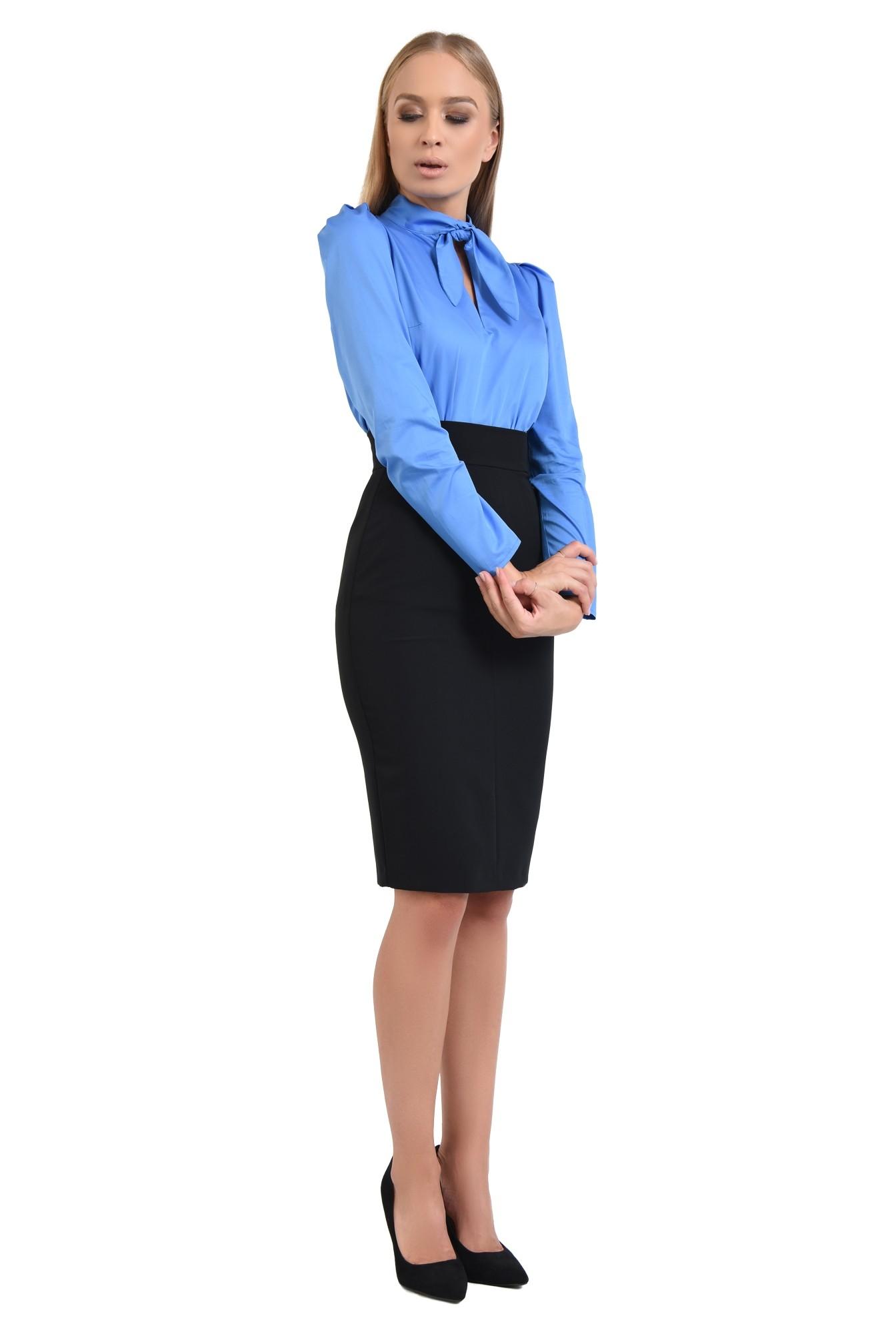 360 - bluza din bumbac, albastra, maneci lungi