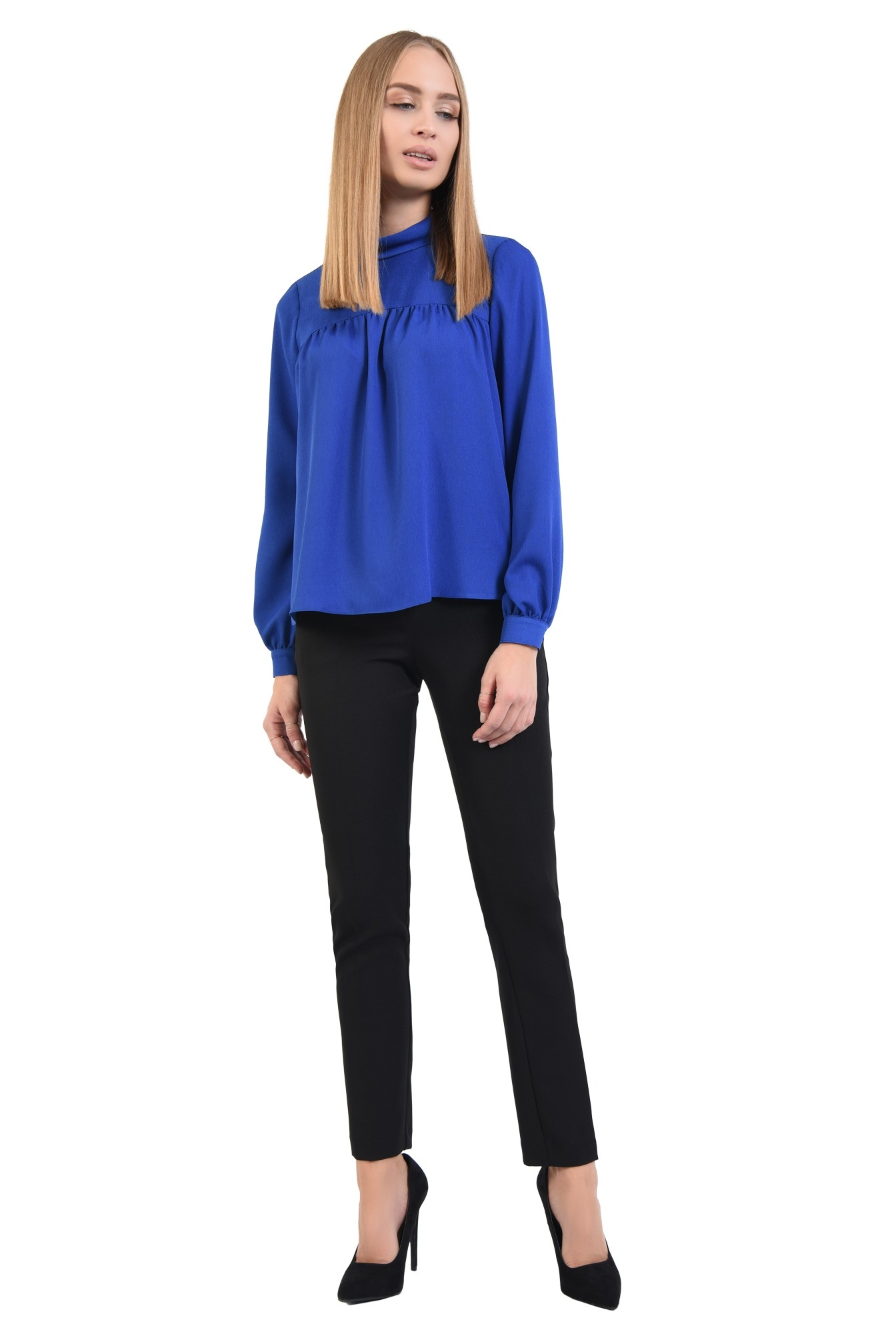 360 - bluza albastra, croi lejer, maneci lungi