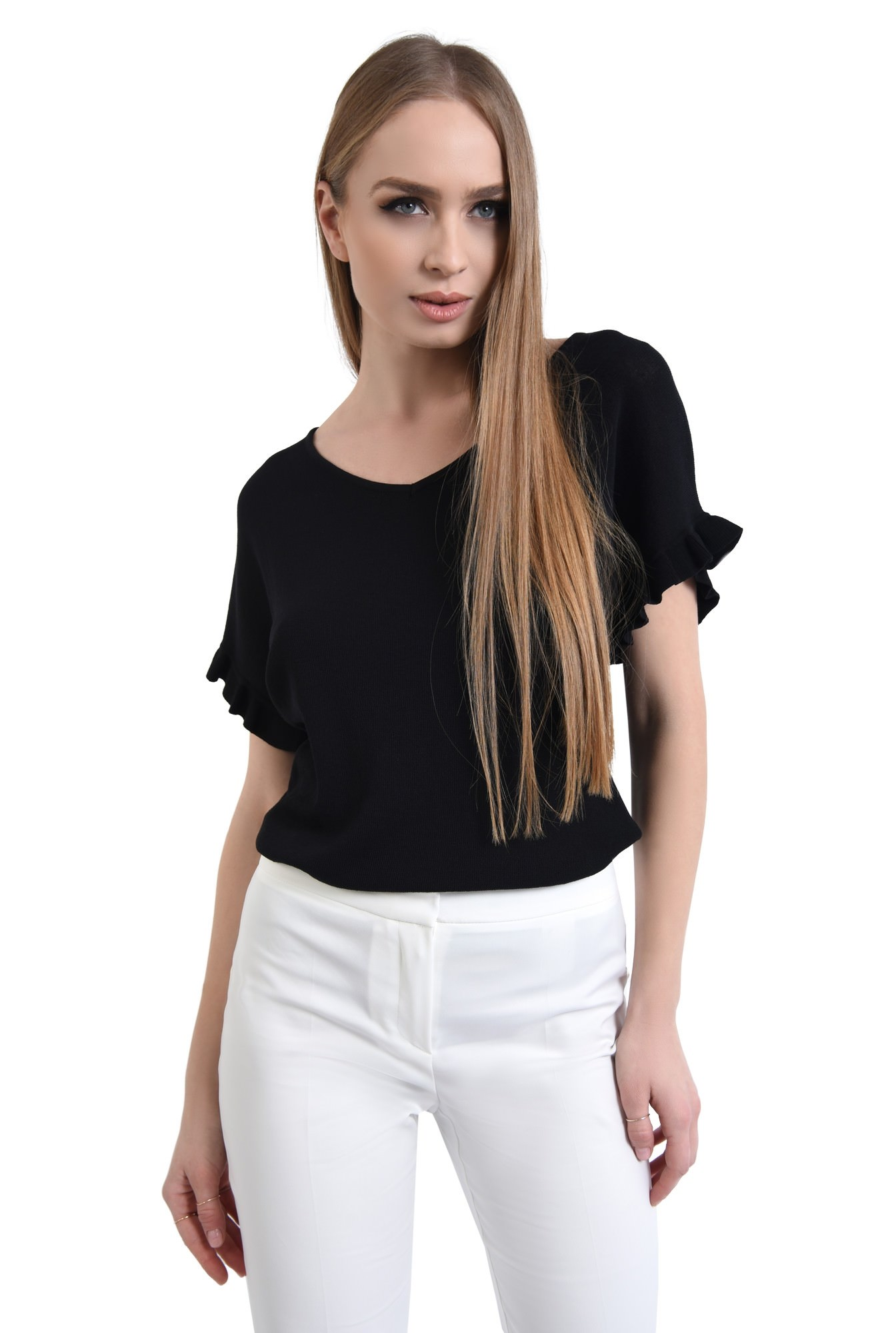 Bluza casual, tricotaj, negru