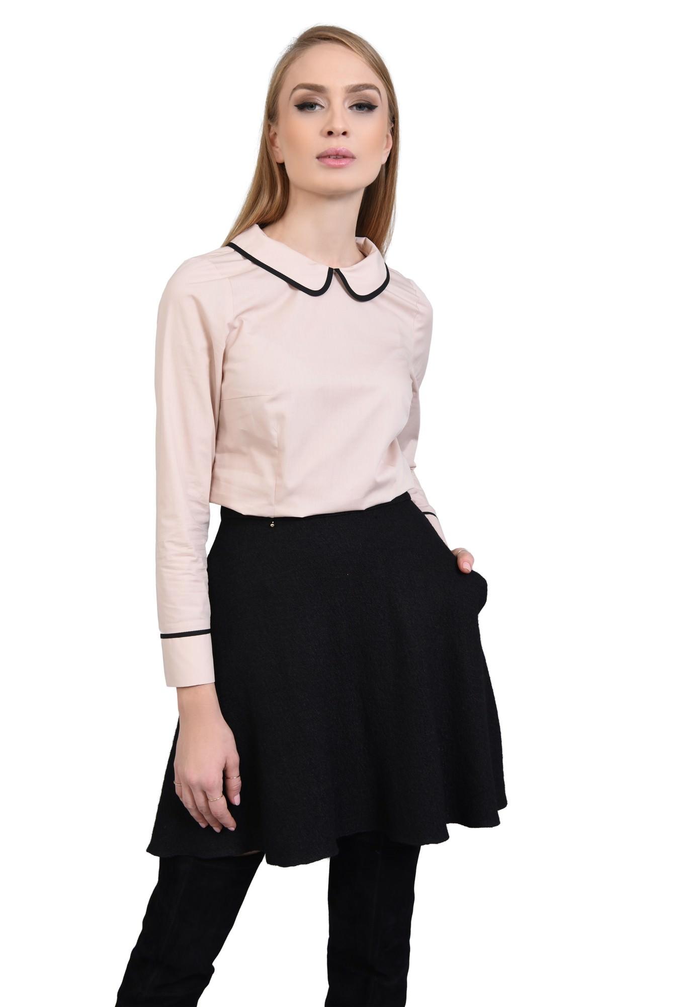 Bluza casual, negru, butoniera