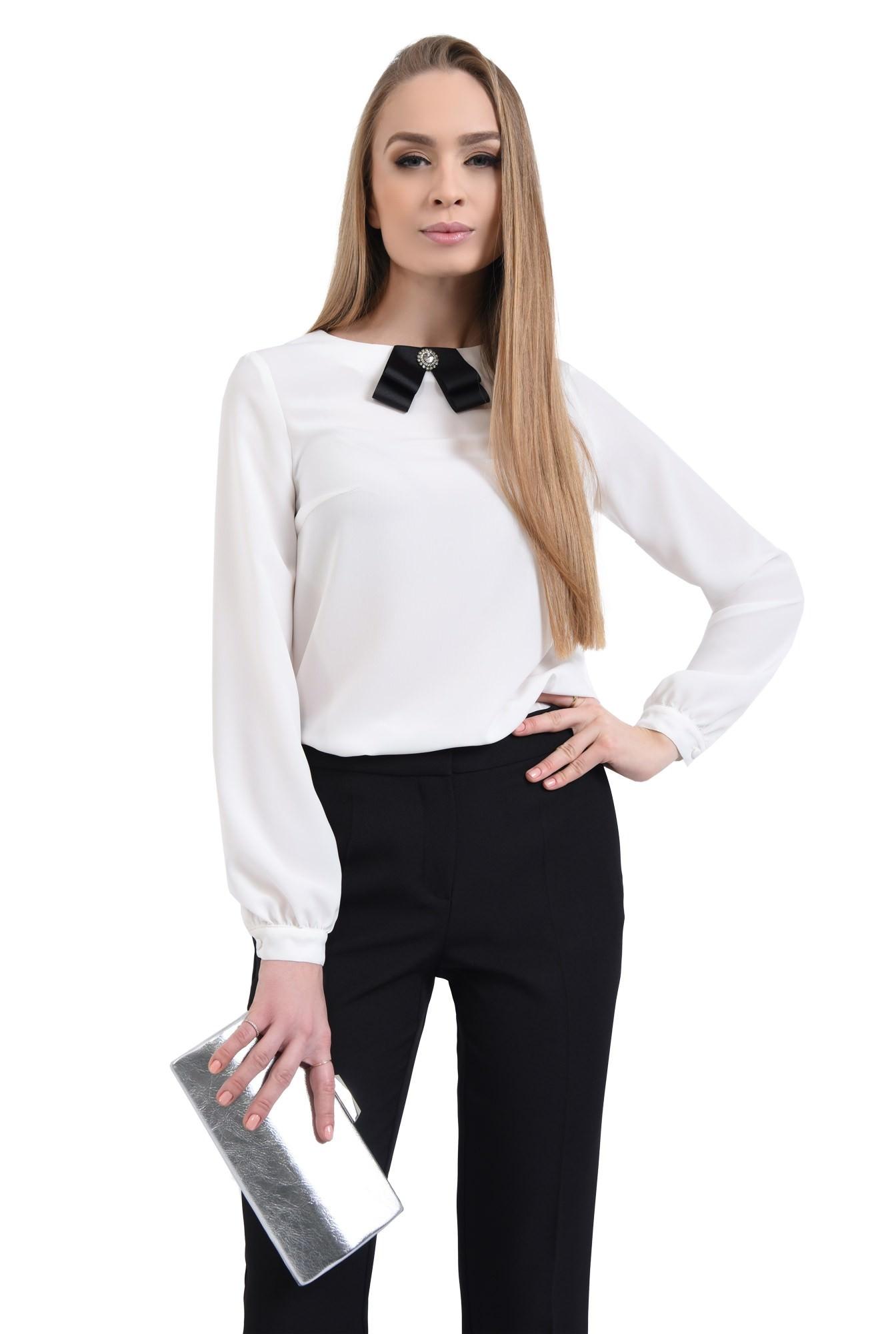 Bluza eleganta, funda satin, contrast