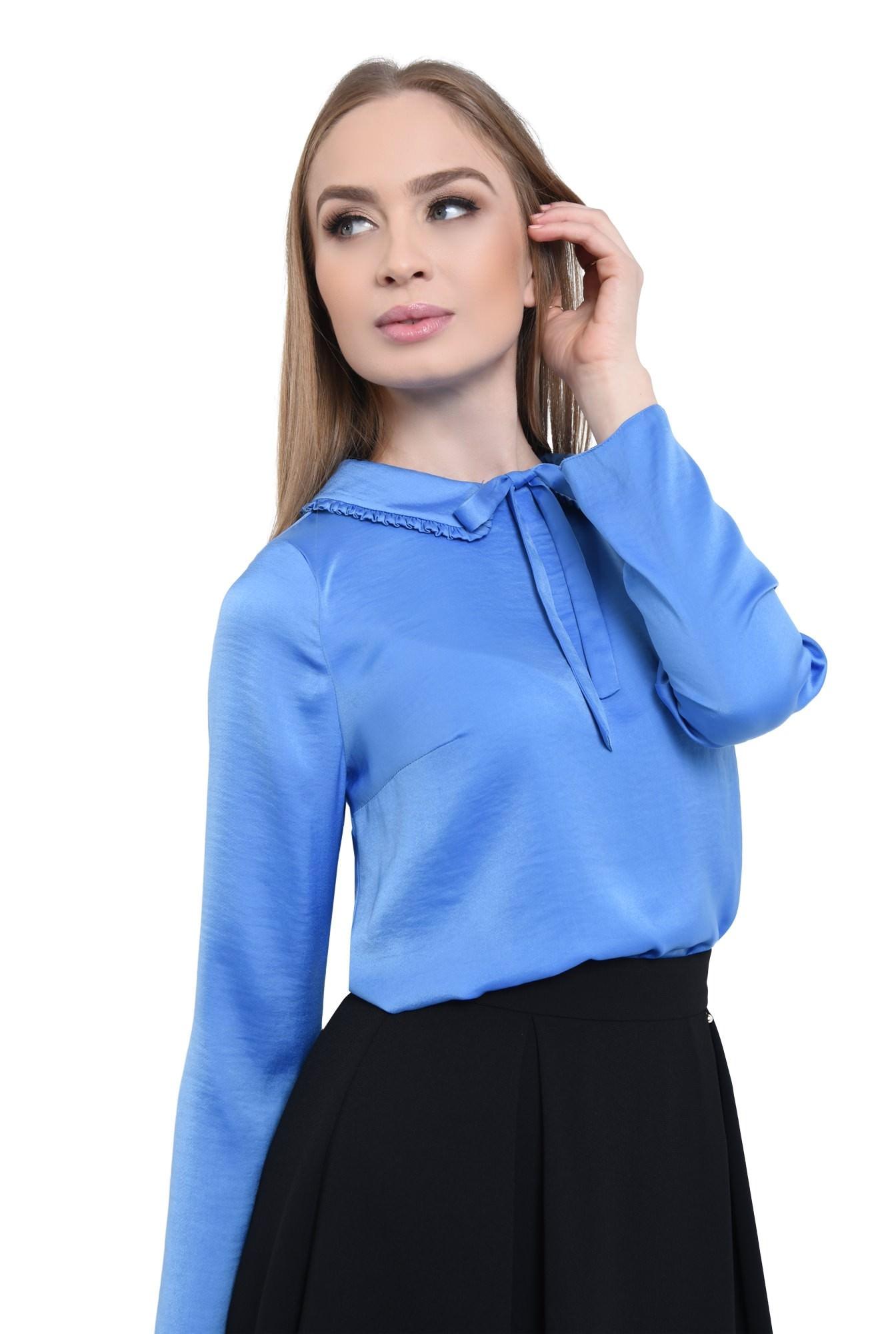 bluza albastra, satin, funda