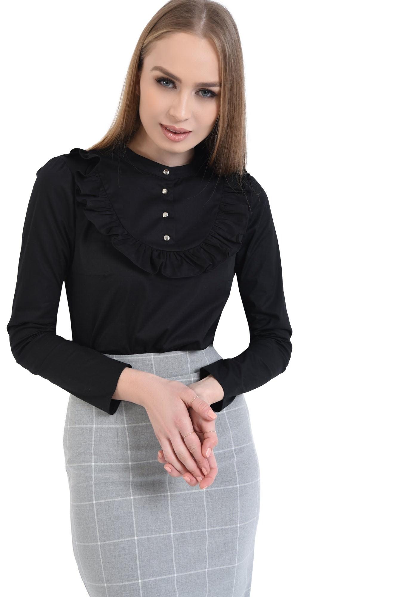 Bluza casual, negru, bumbac