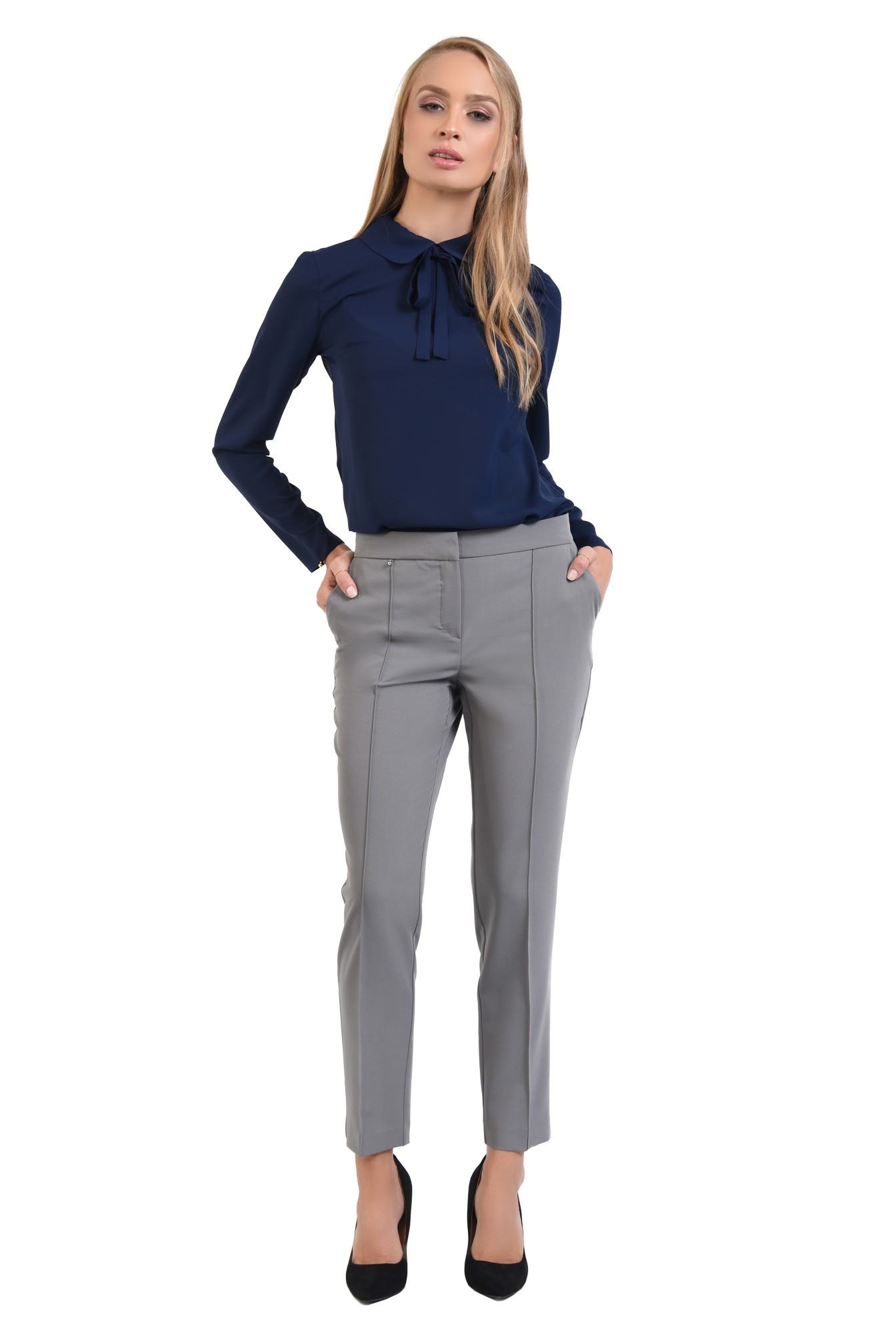 360 - bluza office, cu funda, guler rotunjit, bluza de birou, bleumarin