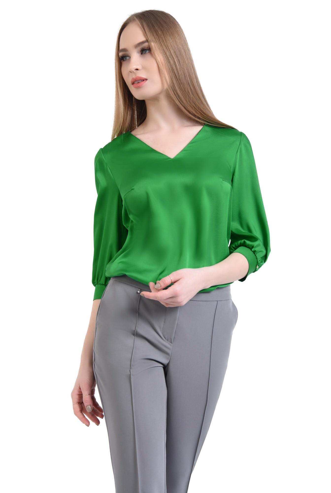 Bluza eleganta, verde, satin
