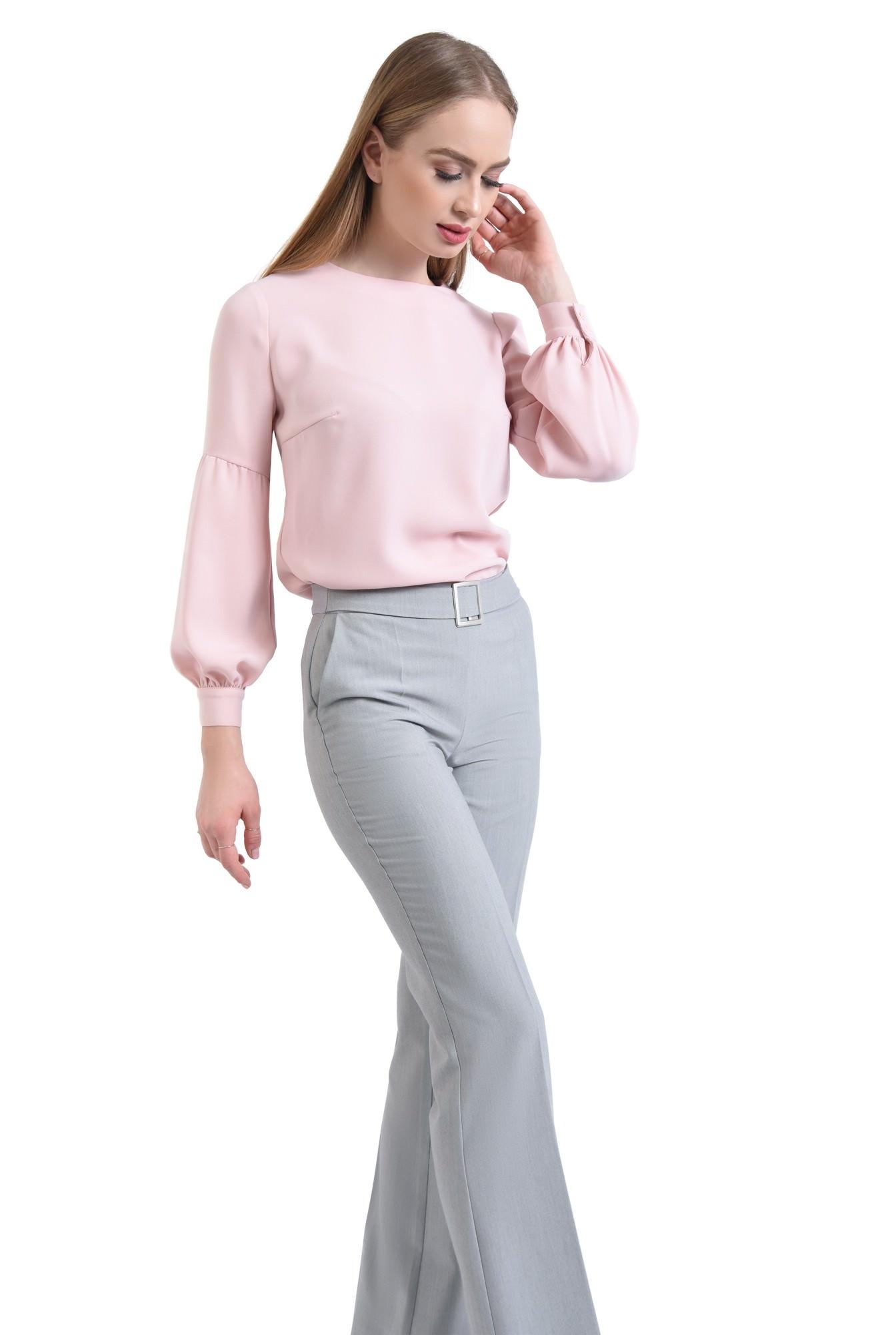 Bluza casual, roz, maneci lungi