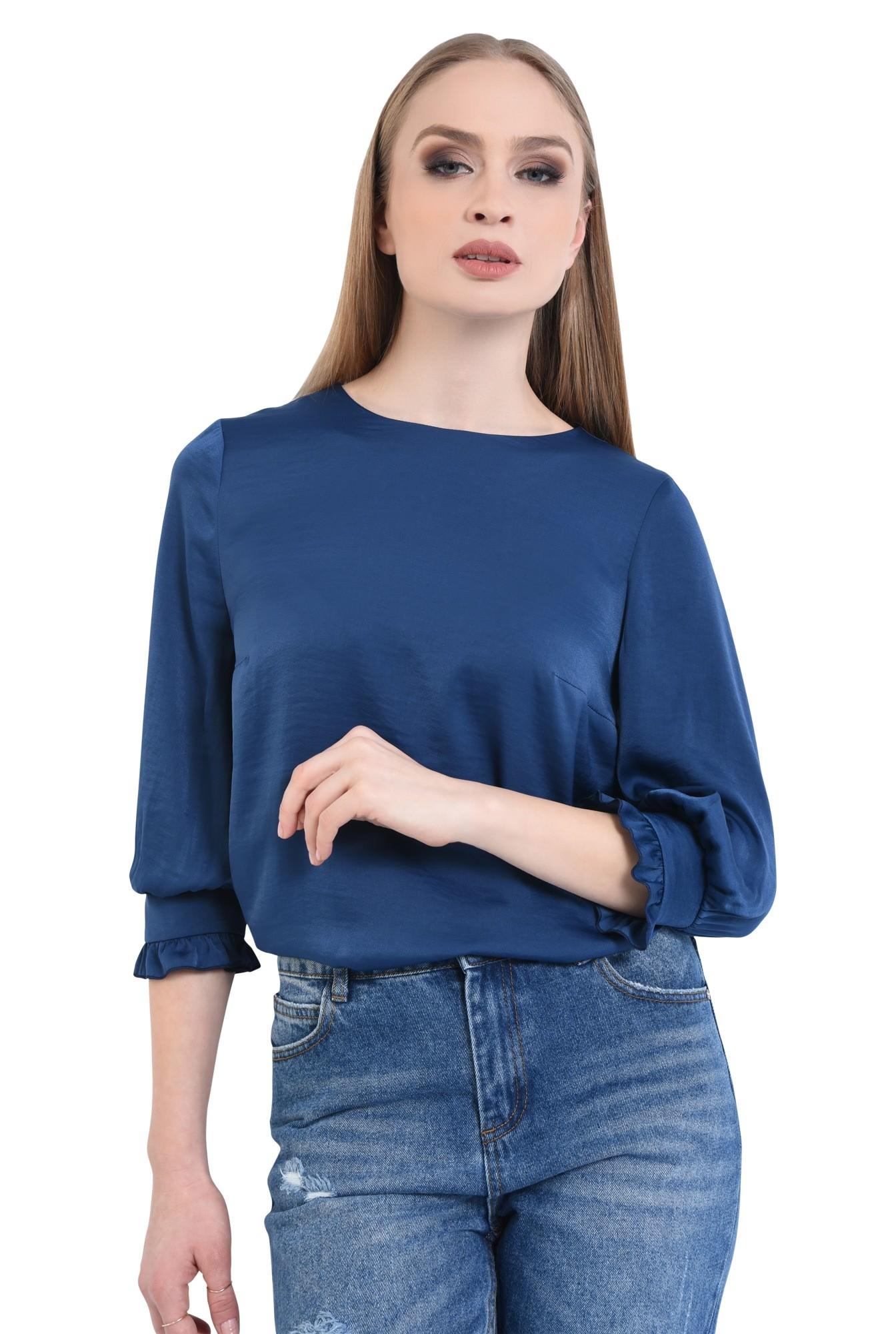 Bluza casual, bleumarin, maneci bufante