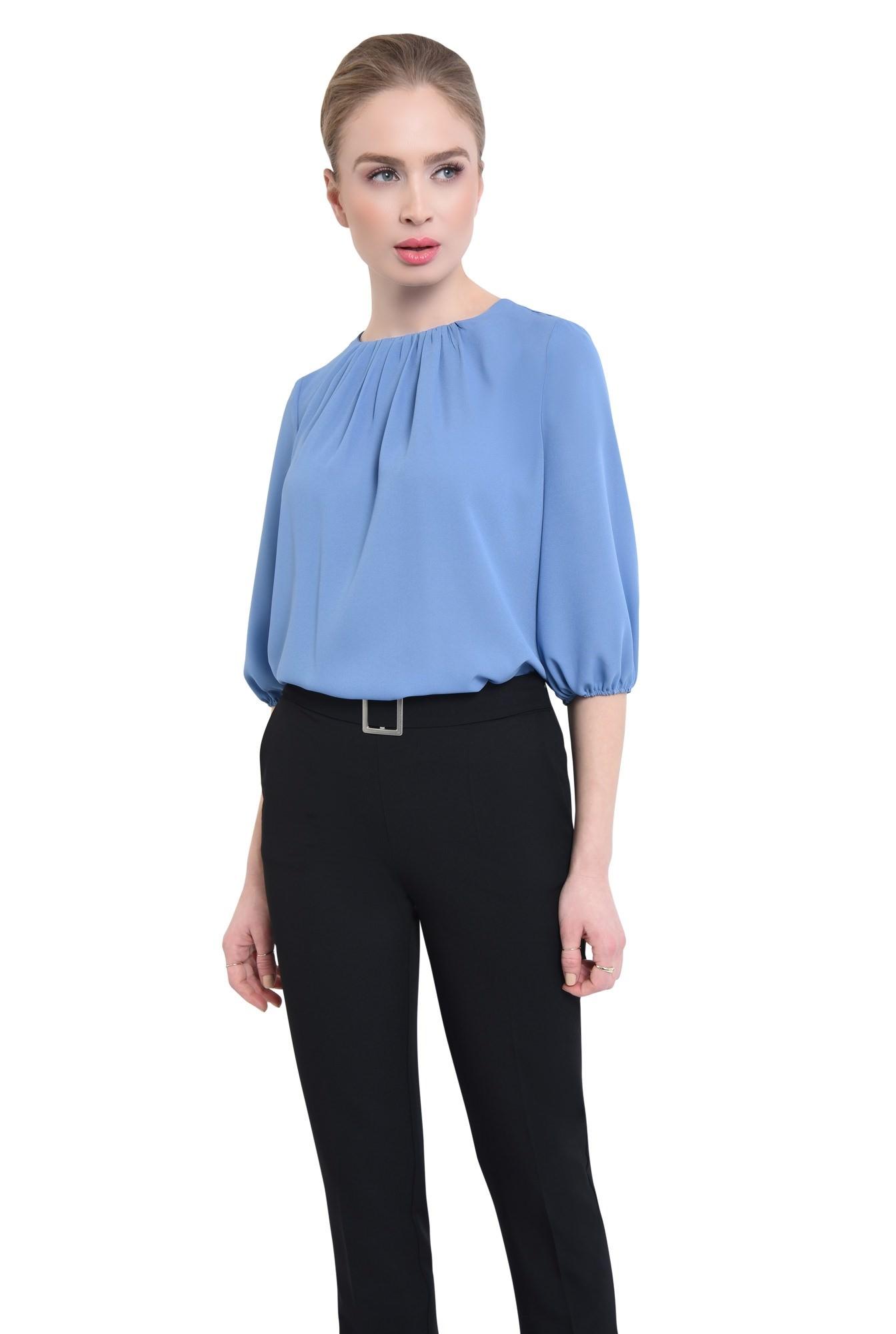 Bluza casual, bleu, decolteu rotund