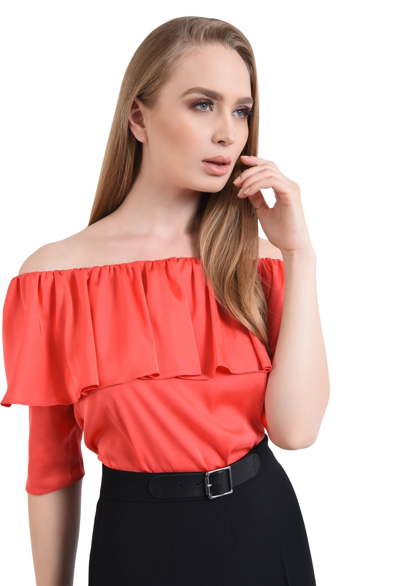 Bluza eleganta, satin, rosu