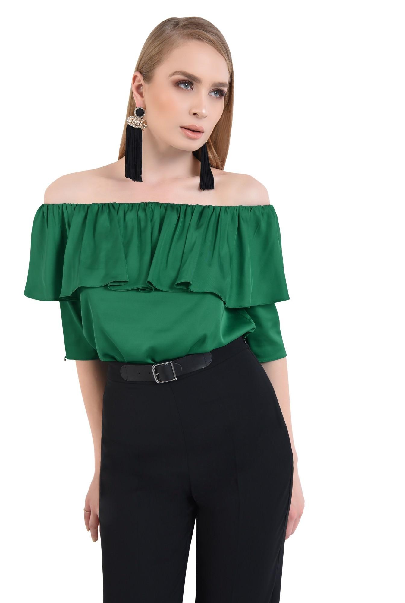 Bluza eleganta, din sifon, tesatura, elastic