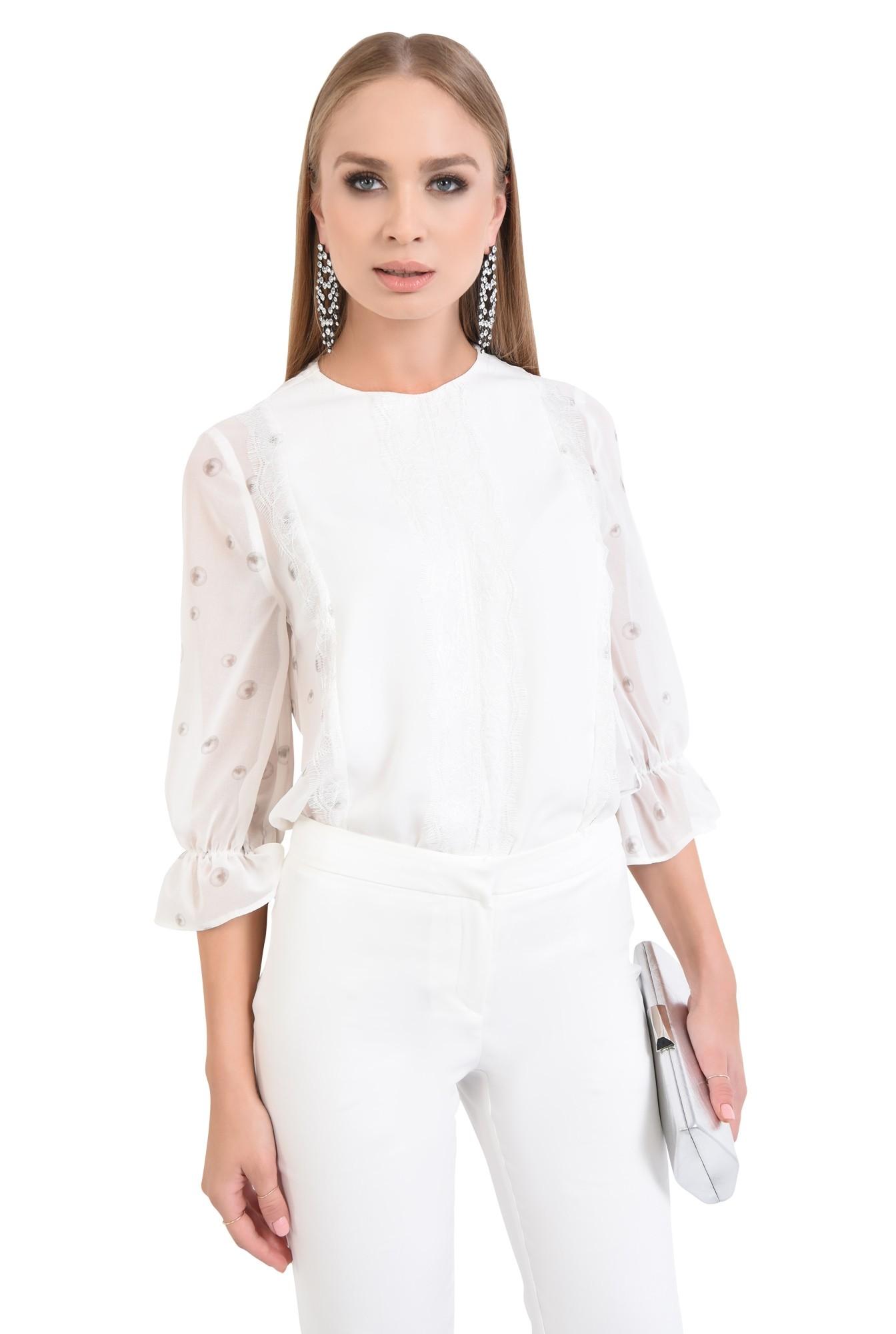 bluza eleganta, voal, dantela, cu imprimeu, alb