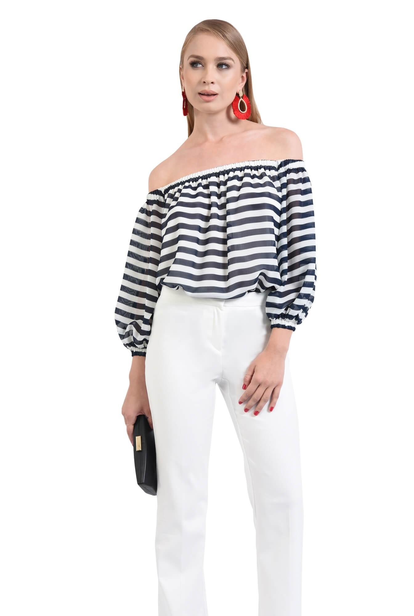 bluza eleganta cu dungi, alb, bleumarin, decolteu elastic, sifon, maneci lungi