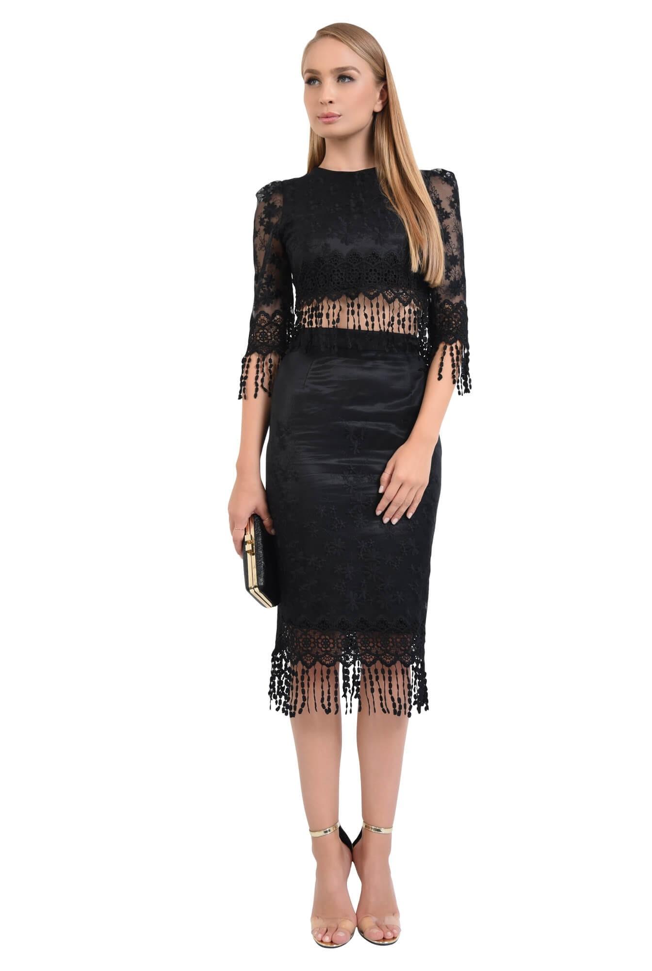 bluza eleganta, cropped top, dantela, negru