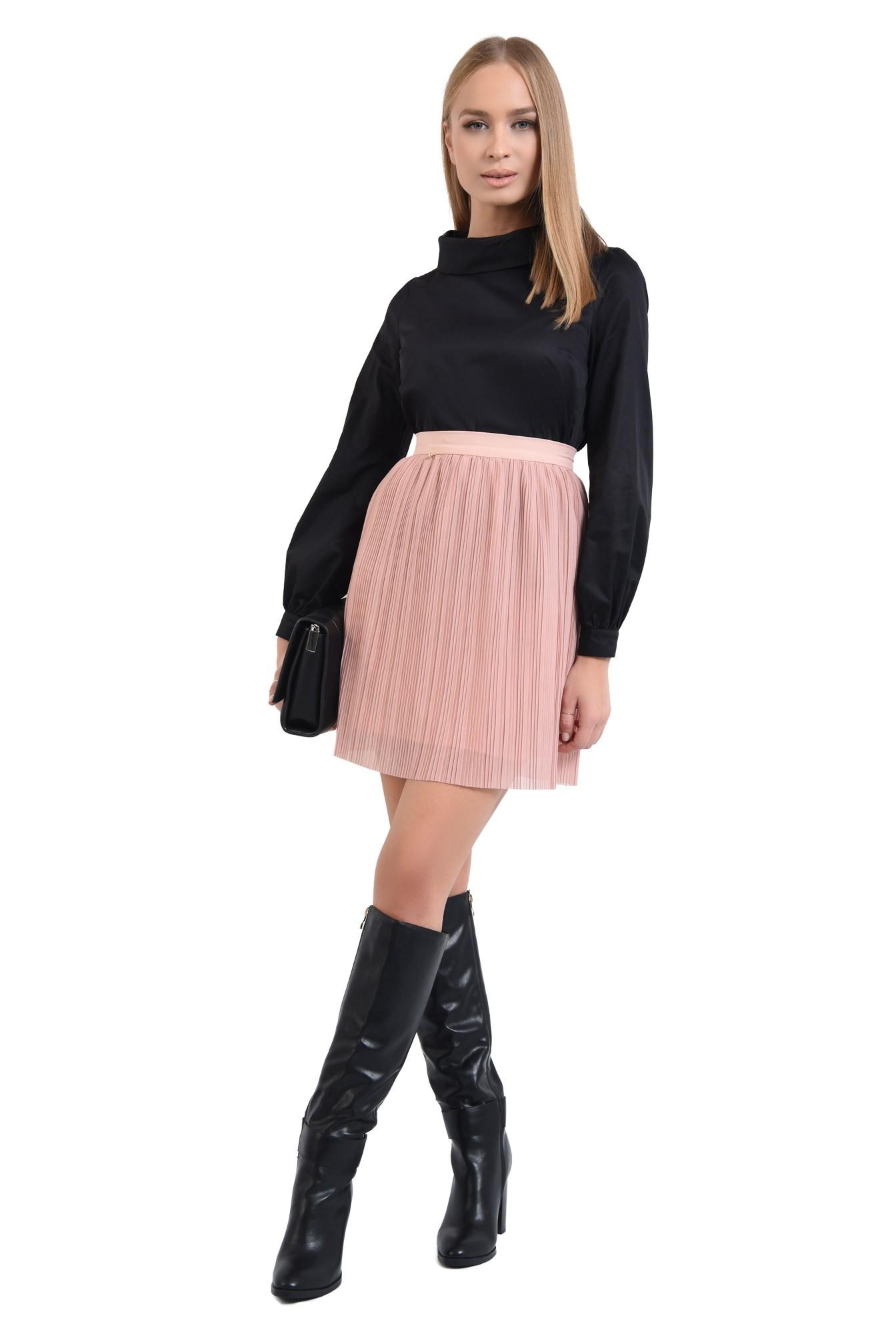 360 - bluza casual, din bumbac, neagra, guler inalt rulat