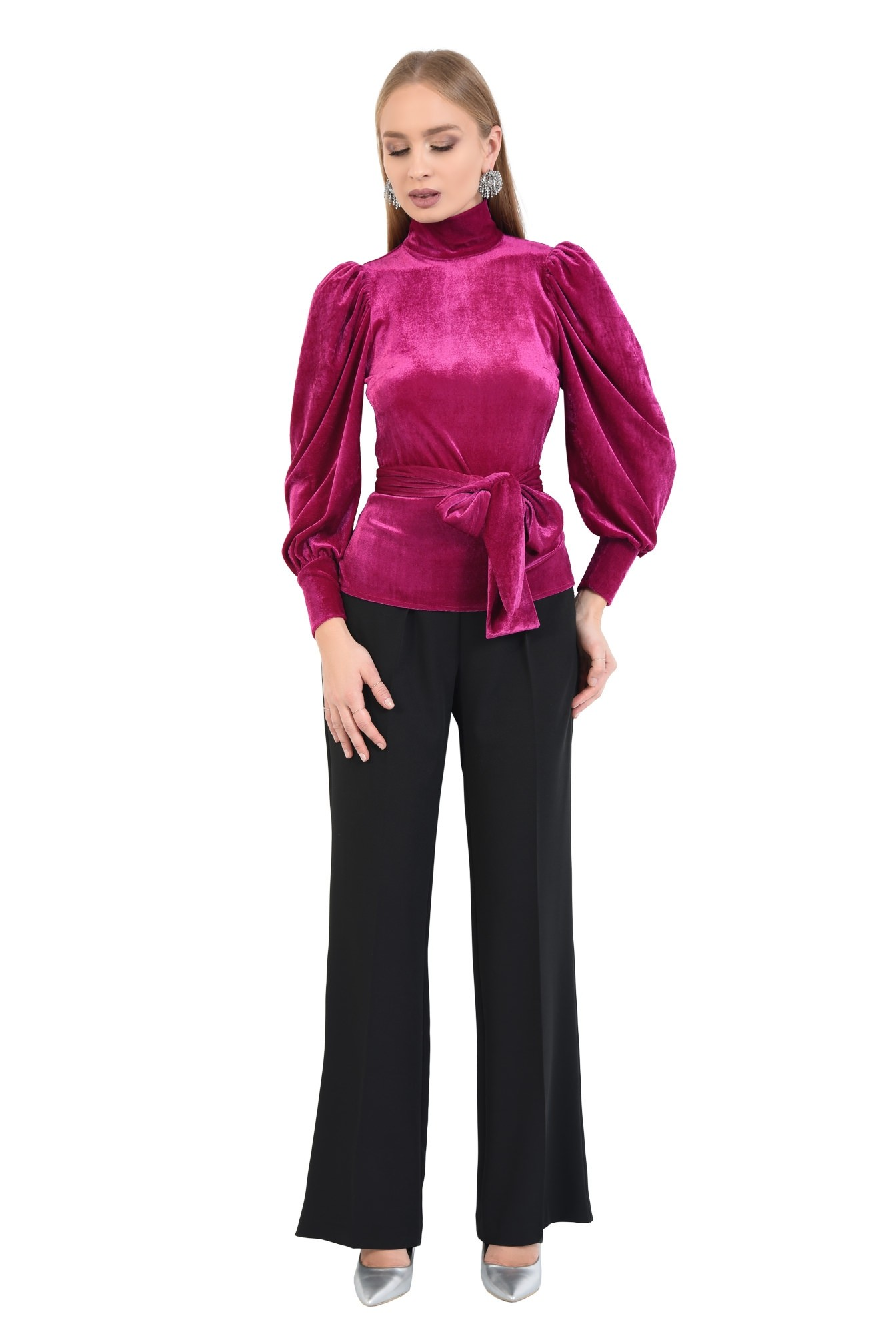 360 - bluza eleganta, roz ciclam, maneci bufante, funda la talie