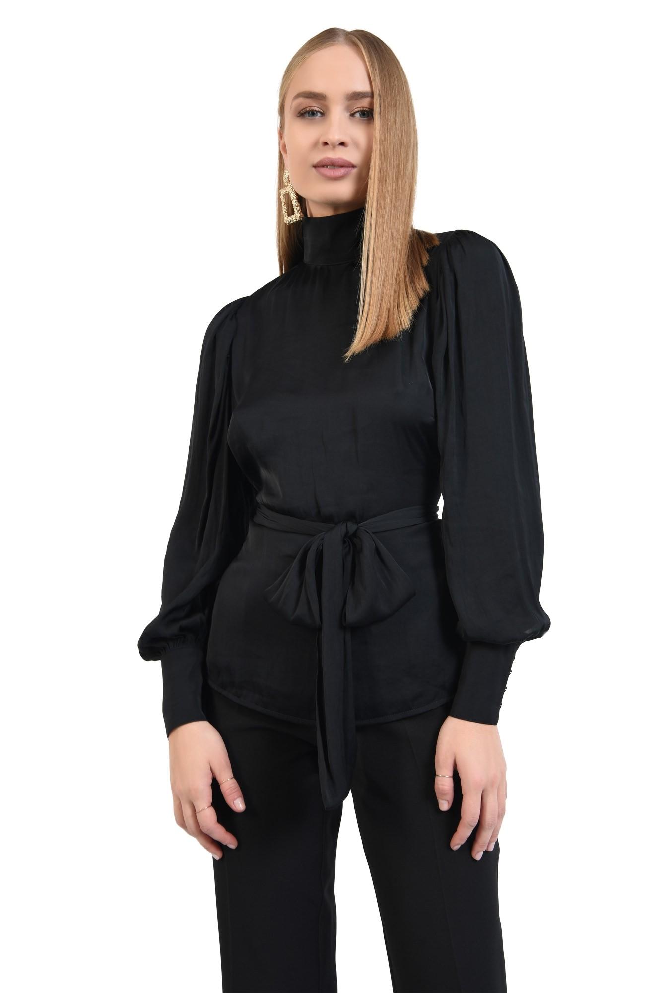 bluza de ocazie, neagra, cu spate decoltat in V, funda in fata sau in spate