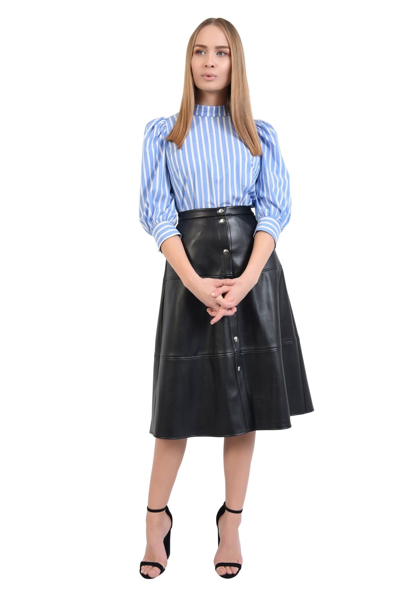 360 - bluza de zi, imprimeu dungi, alb, bleu, guler aplicat, inchidere cu butoniera
