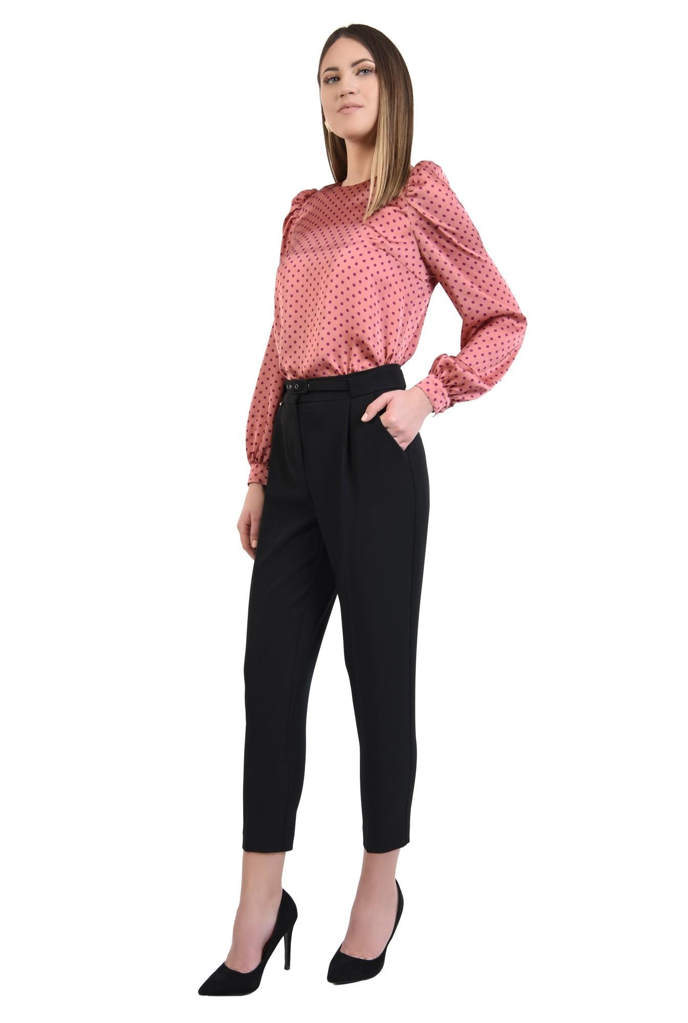 360 - bluza cu picouri, din satin roz, maneci lungi, croi drept, buline