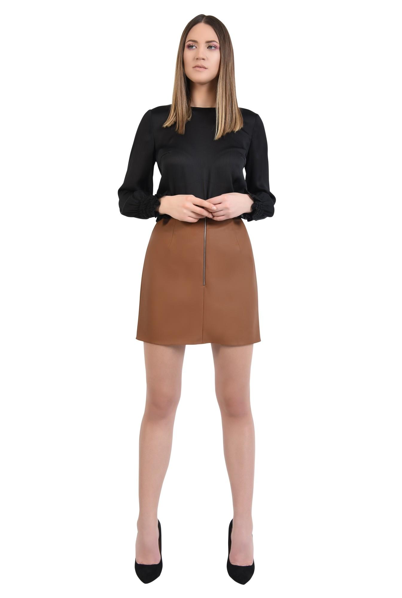 360 - bluza eleganta, din crep, tesatura texturata, bluza neagra, bluze online