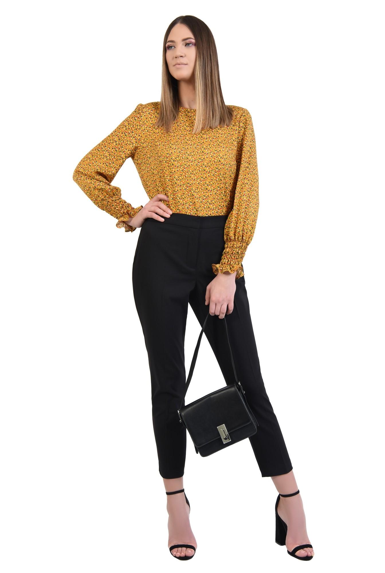 360 - bluza casual, din viscoza imprimata, maneci lungi cu mansete elastice