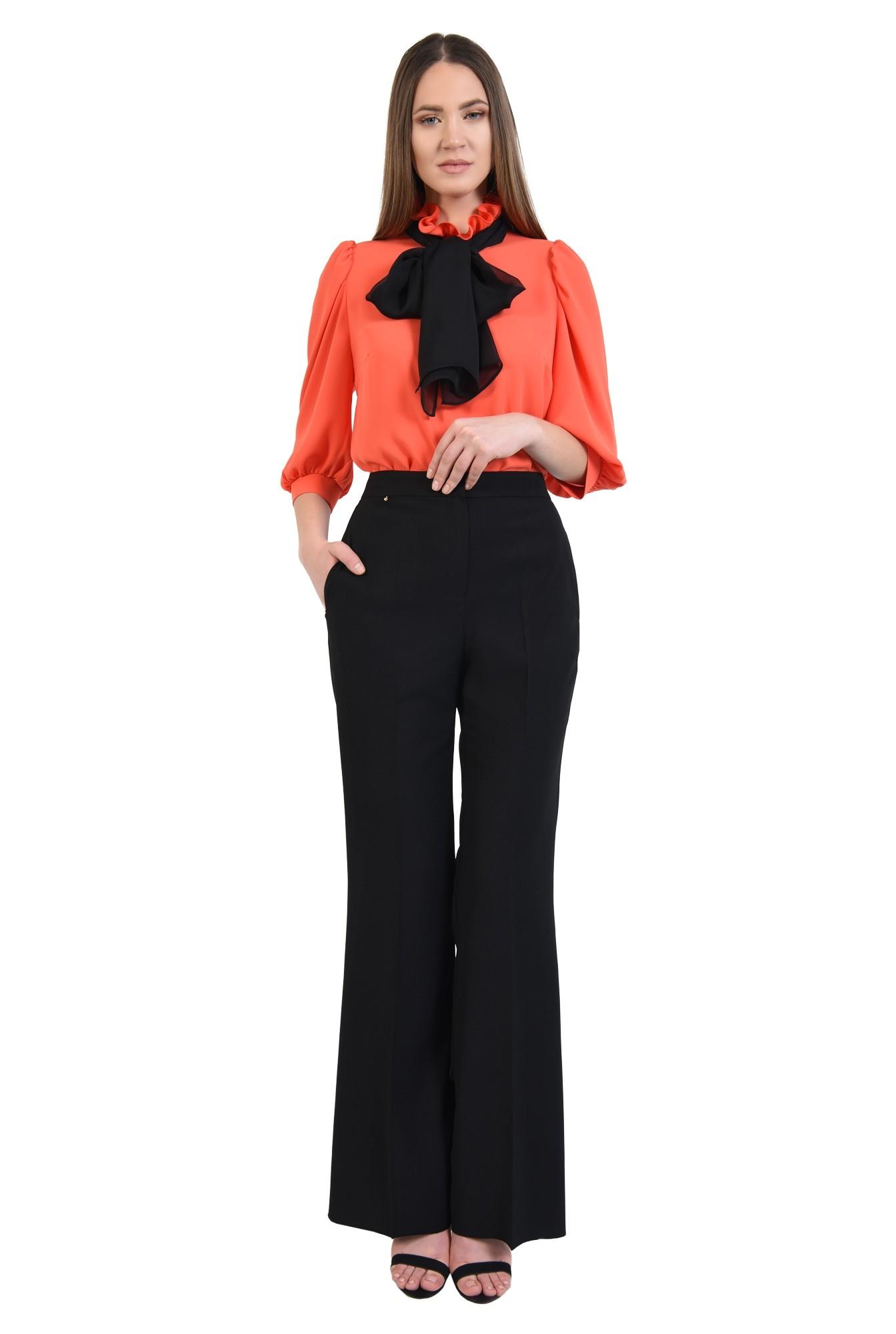 360 - bluza eleganta, maneci 3/4 cu mansete, funda neagra, bluza din sifon