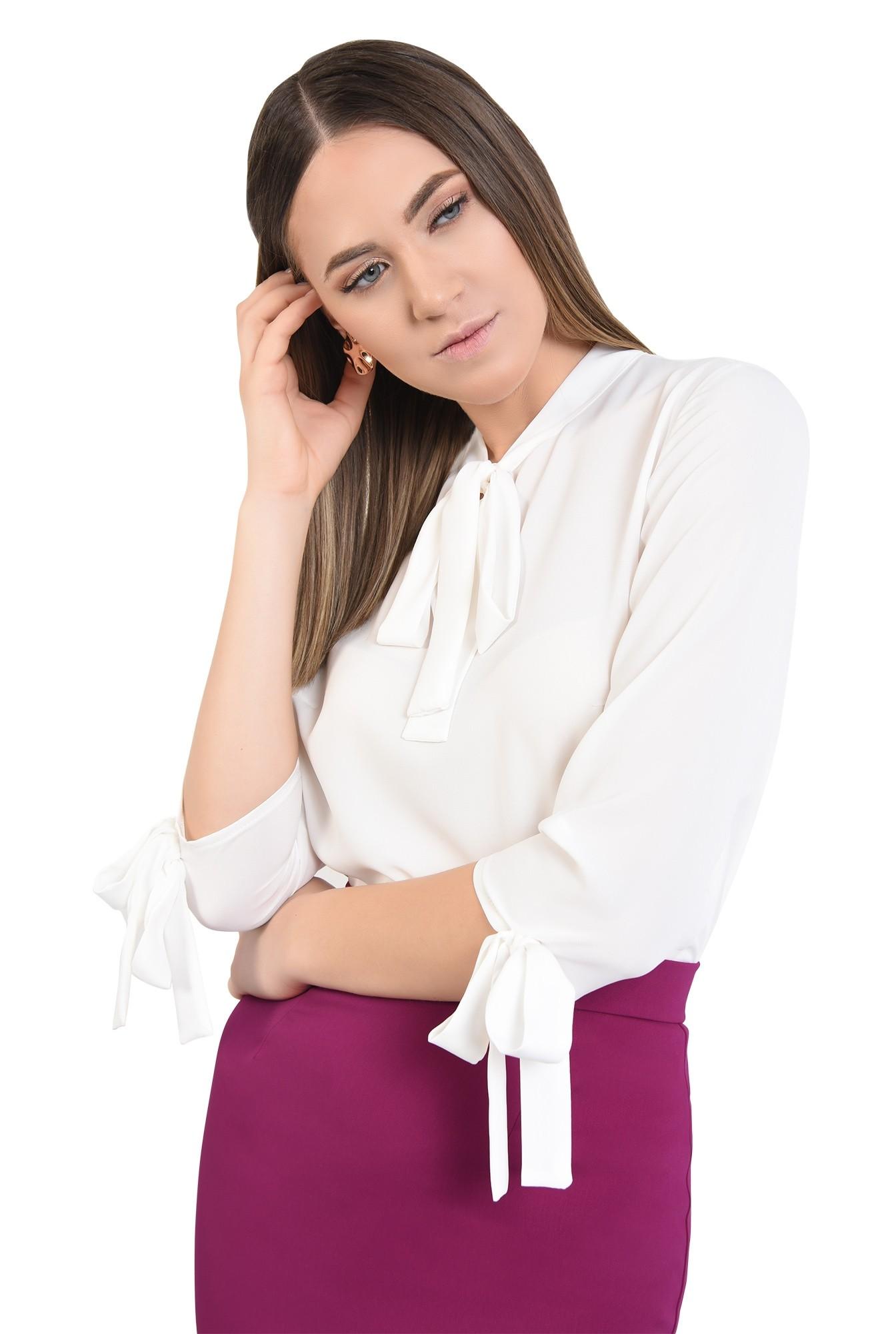 bluza de zi, croi drept lejer, din sifon, cu funde, casual