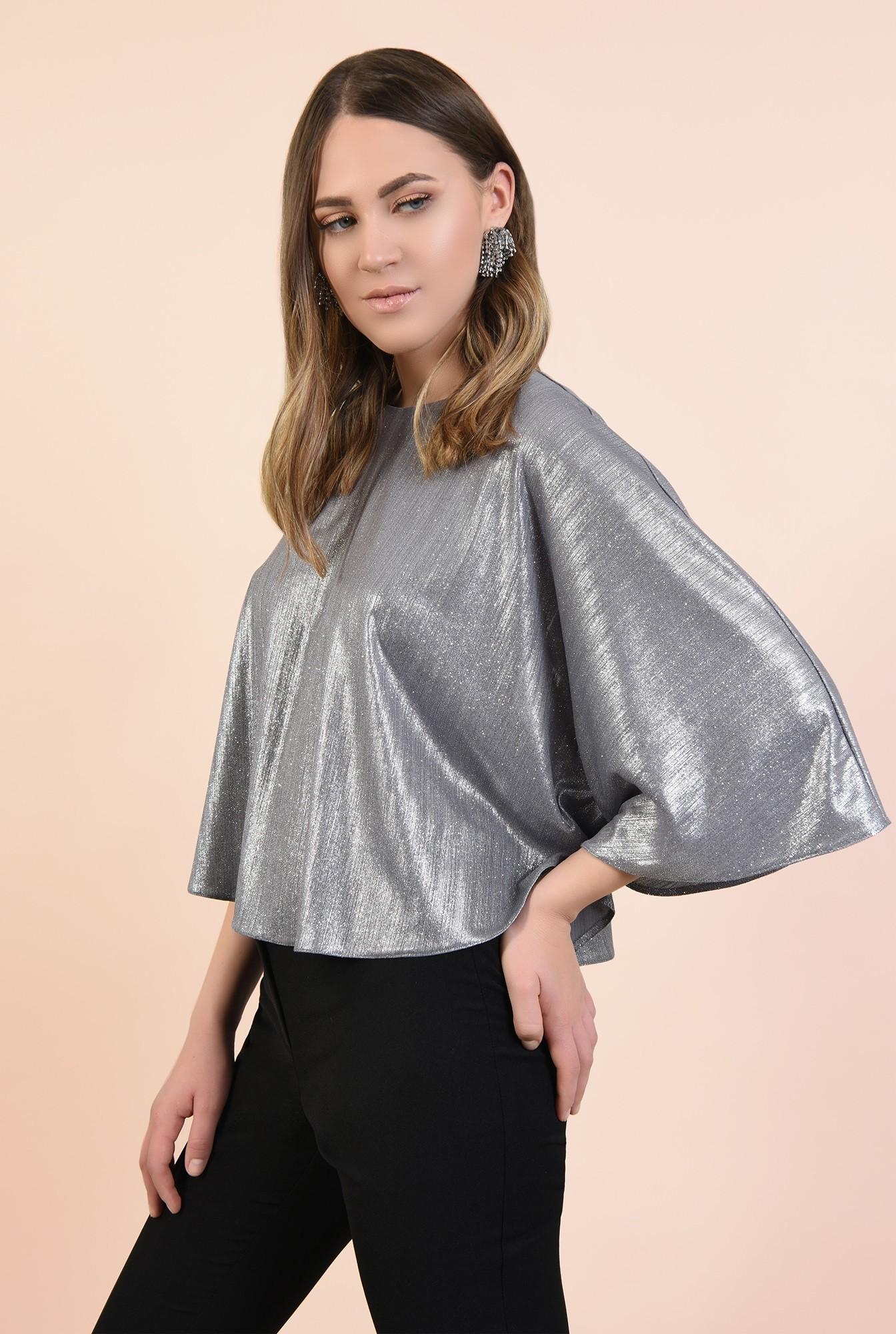 bluza eleganta, tip capa, argintie, cu sclipici, maneci fluture